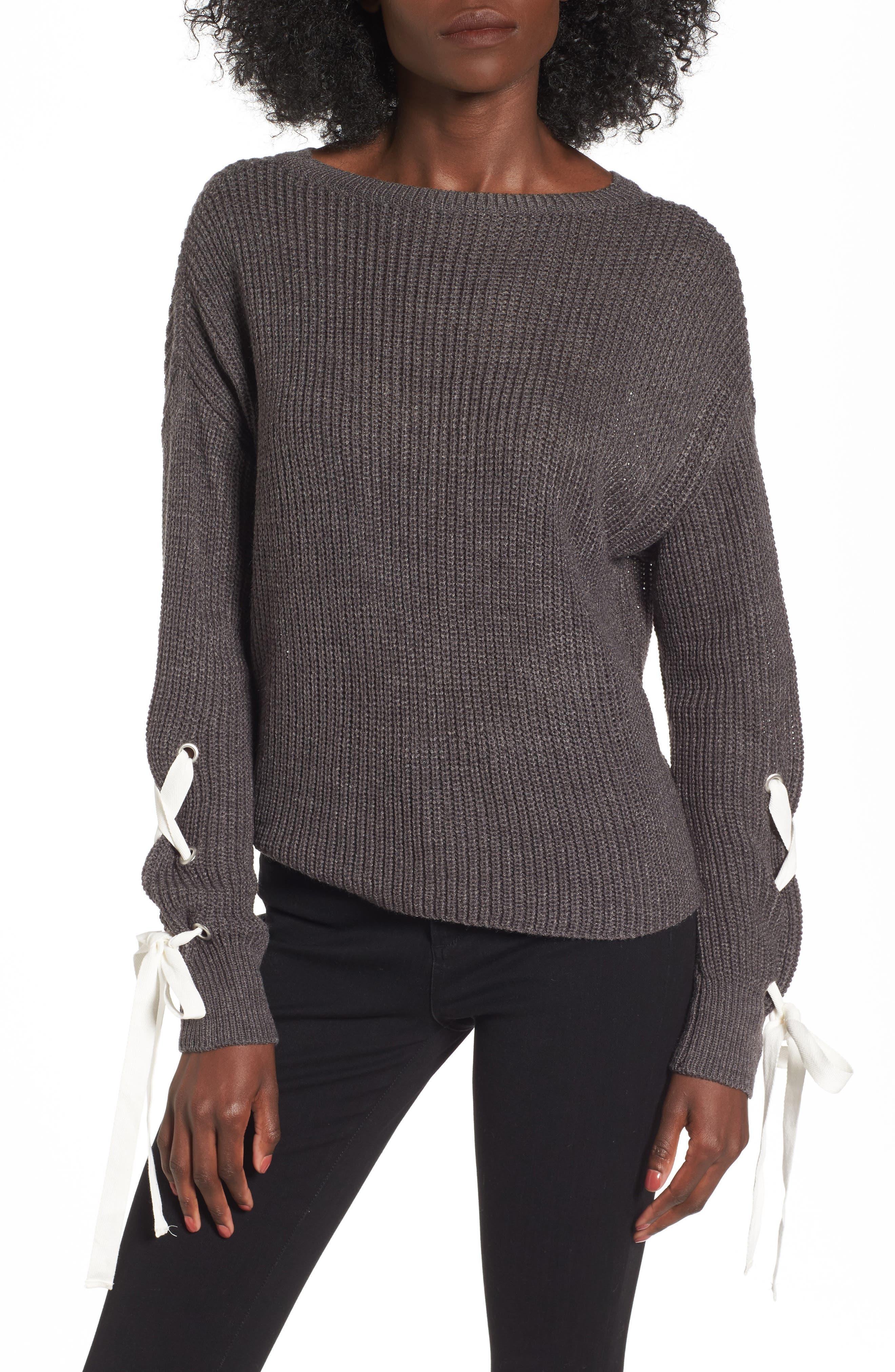 Main Image - Madison & Berkeley Laced Sleeve Sweater