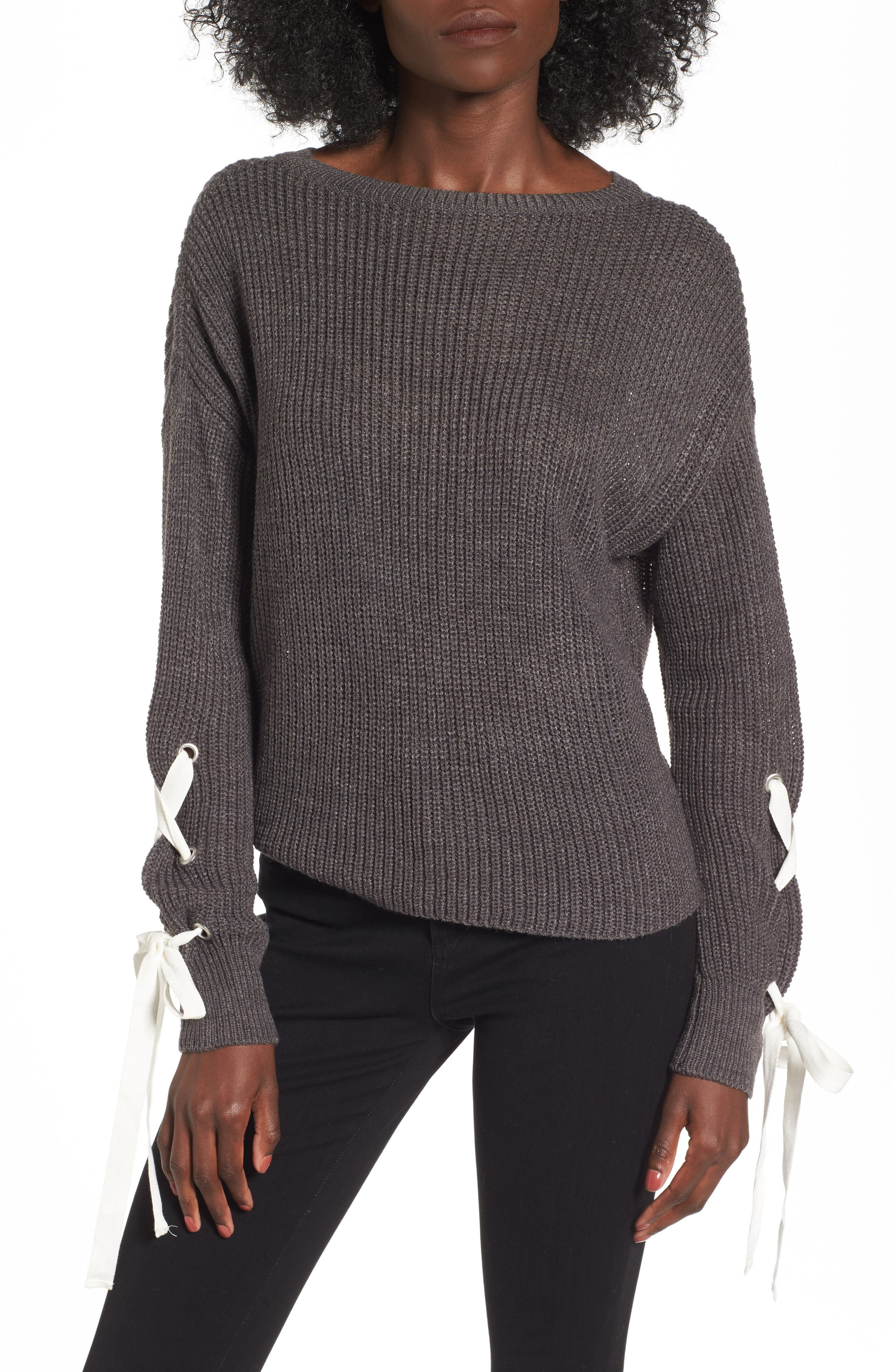 Laced Sleeve Sweater,                         Main,                         color, Charcoal/ Ivory