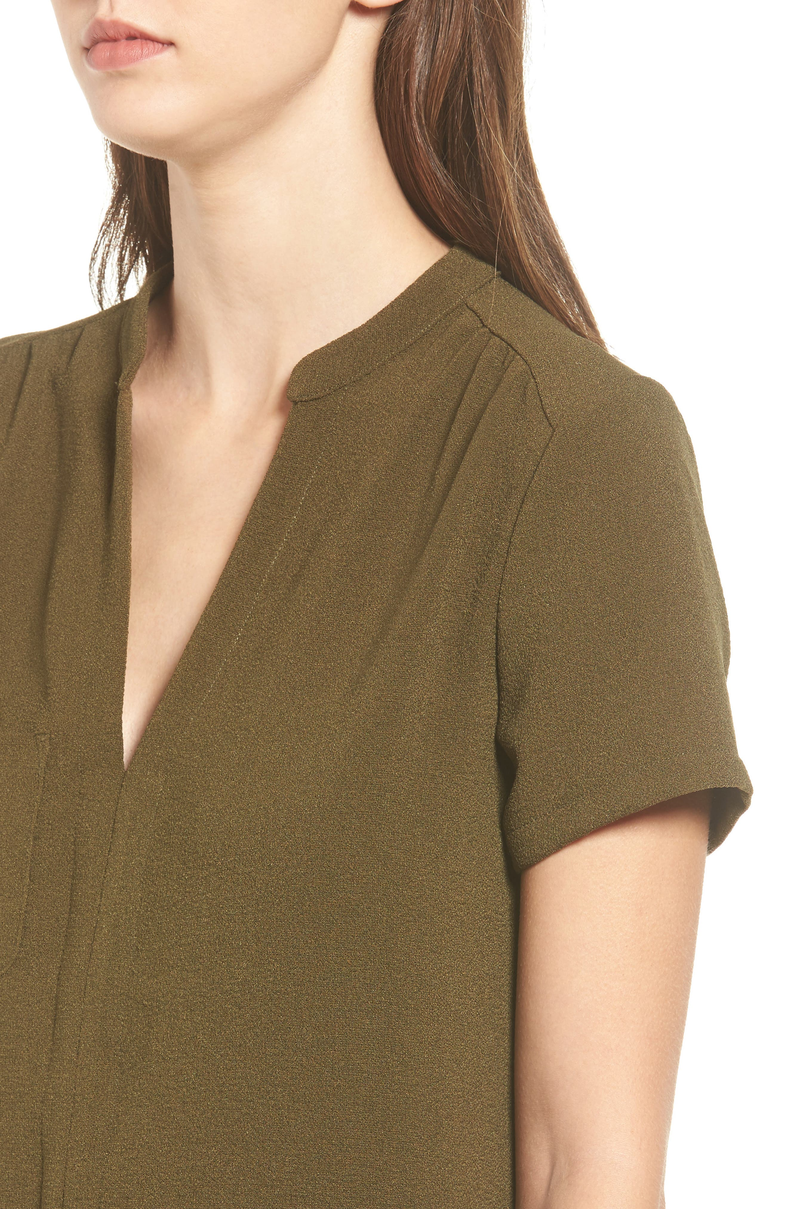 Hailey Crepe Dress,                             Alternate thumbnail 4, color,                             Olive