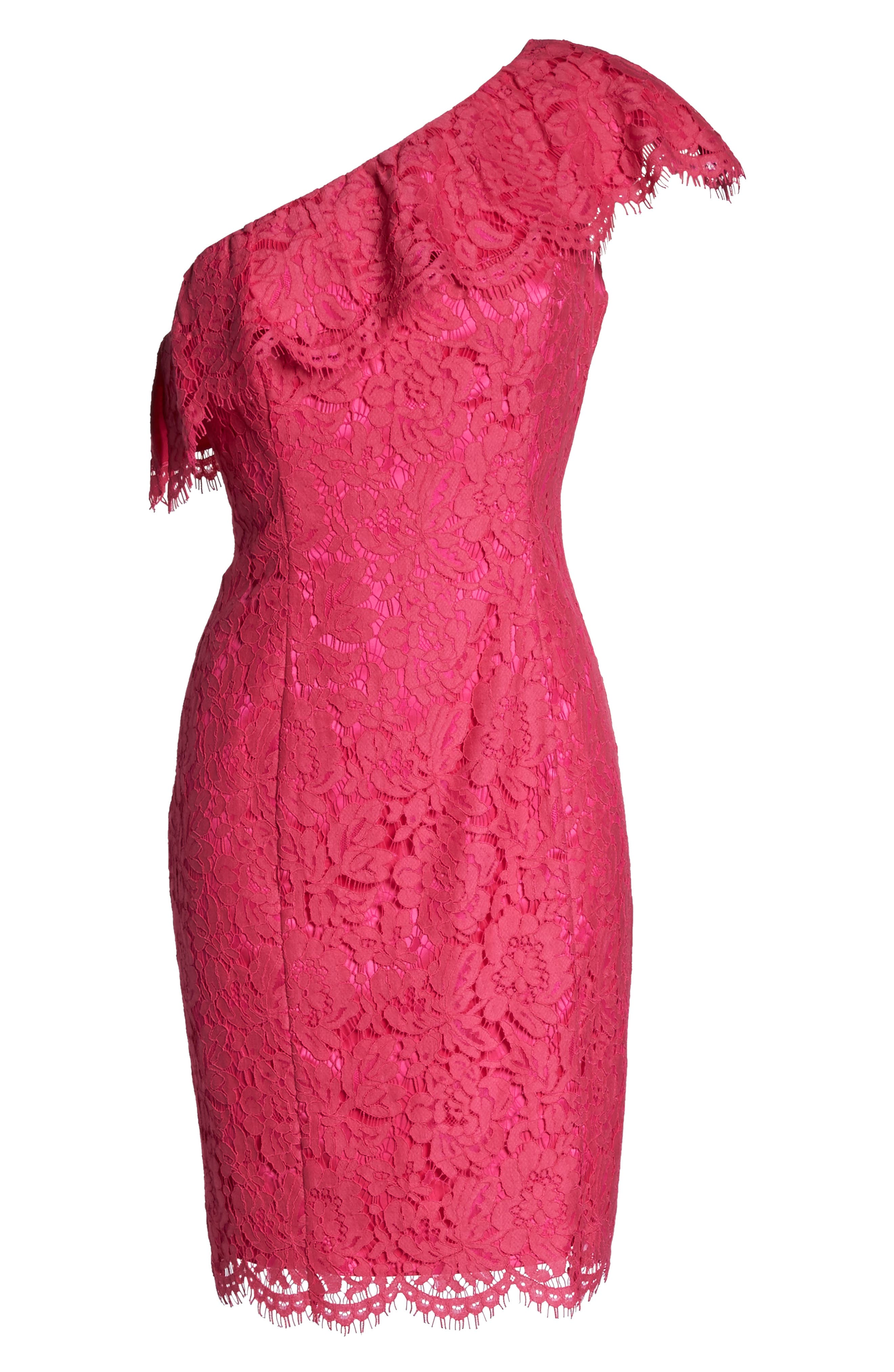 Ruffle Lace One-Shoulder Sheath Dress,                             Alternate thumbnail 6, color,                             Pink