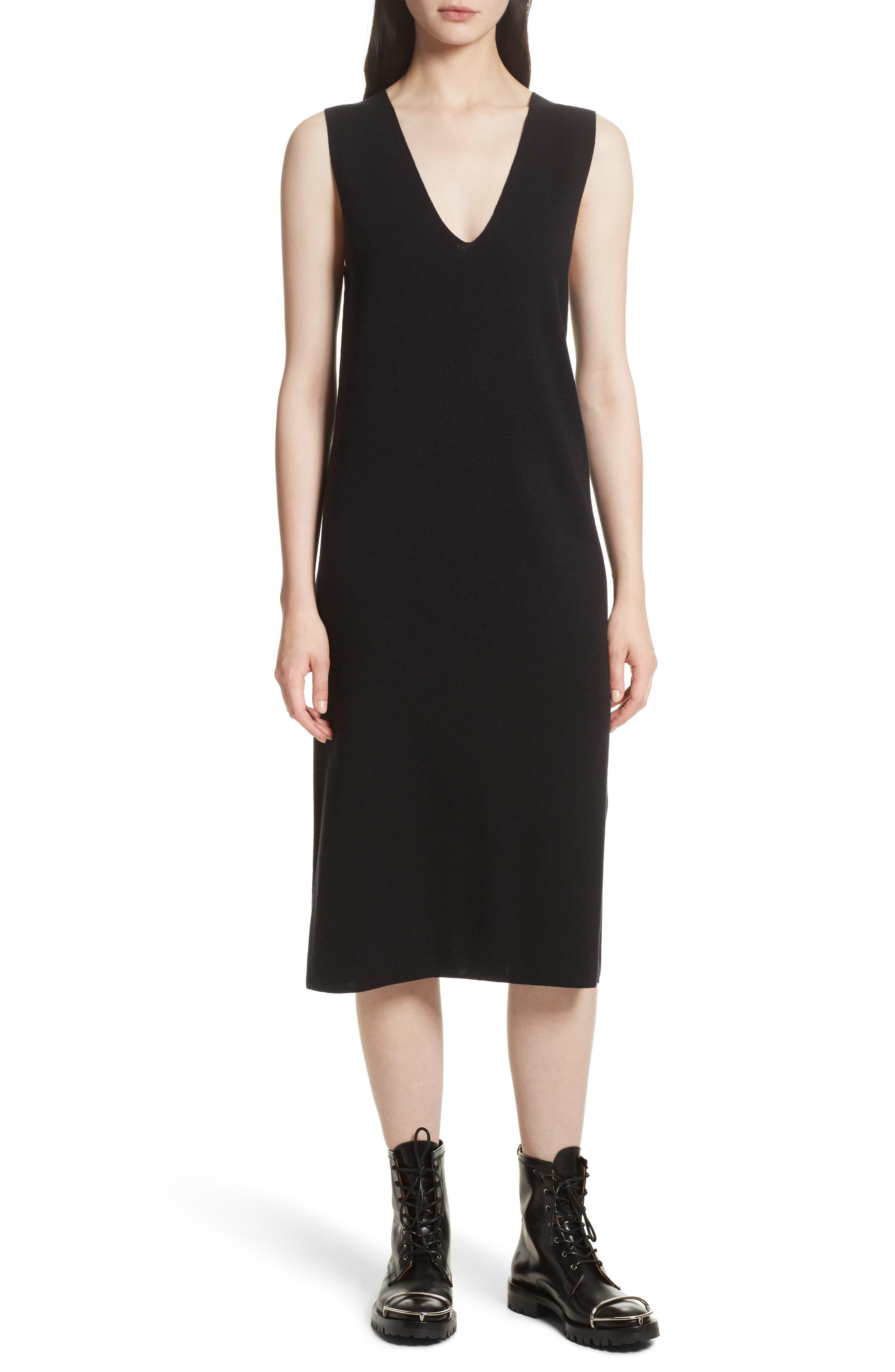 Milano Knit Midi Dress,                             Main thumbnail 1, color,                             Black
