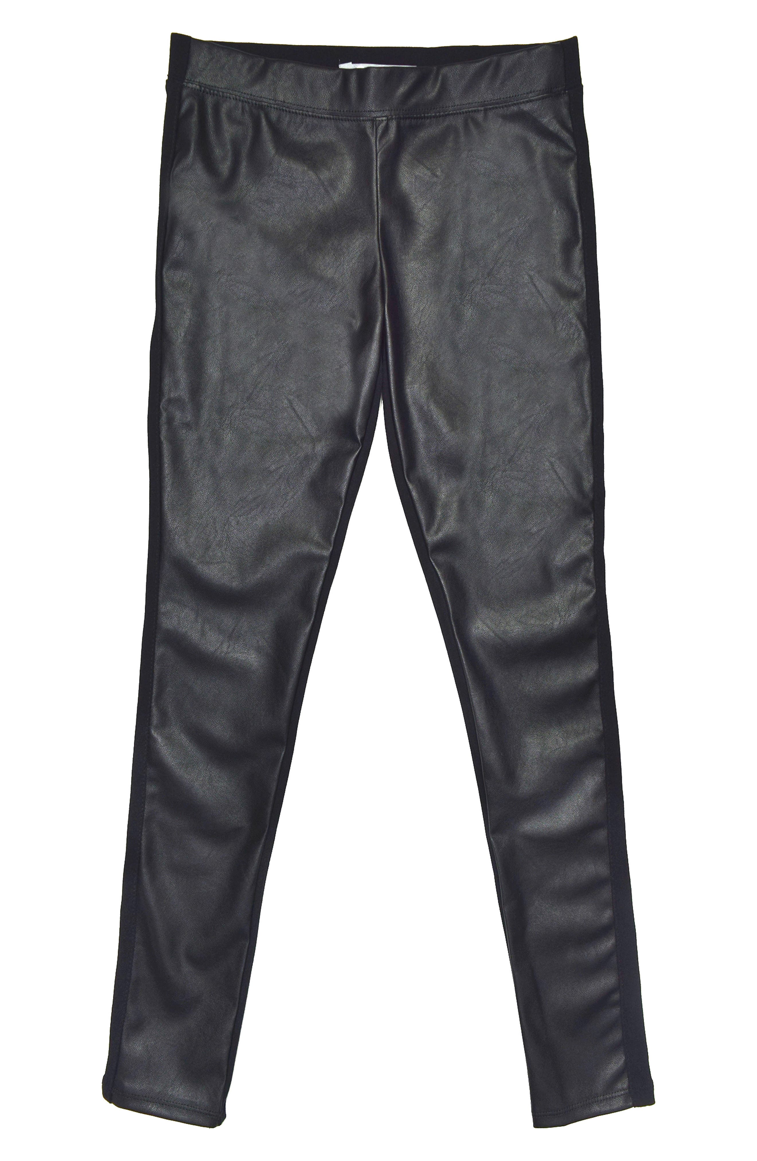 Tractr Faux Leather Ponte Skinny Pants (Big Girls)