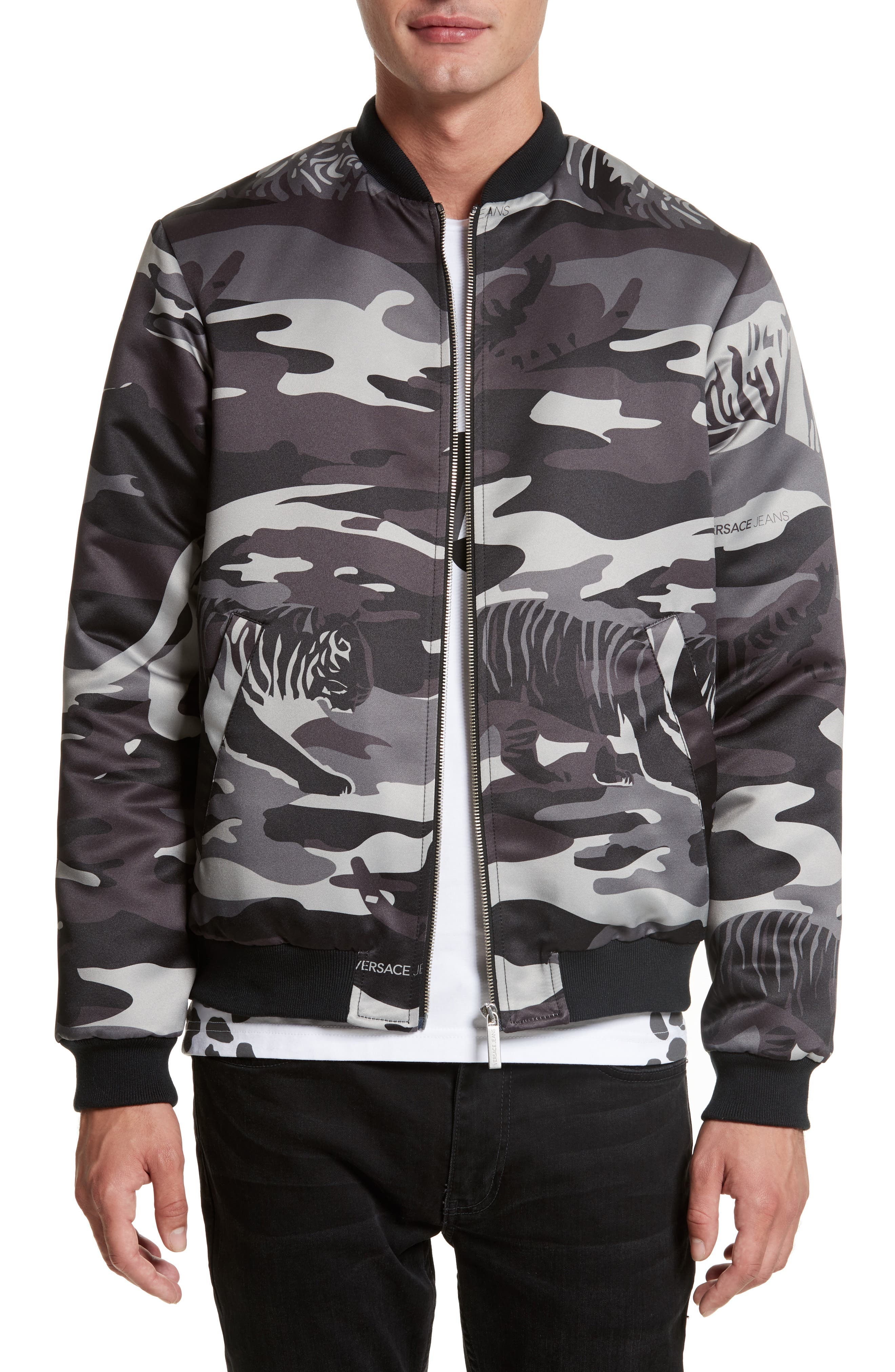 VERSACE JEANS Camo Tiger Bomber Jacket
