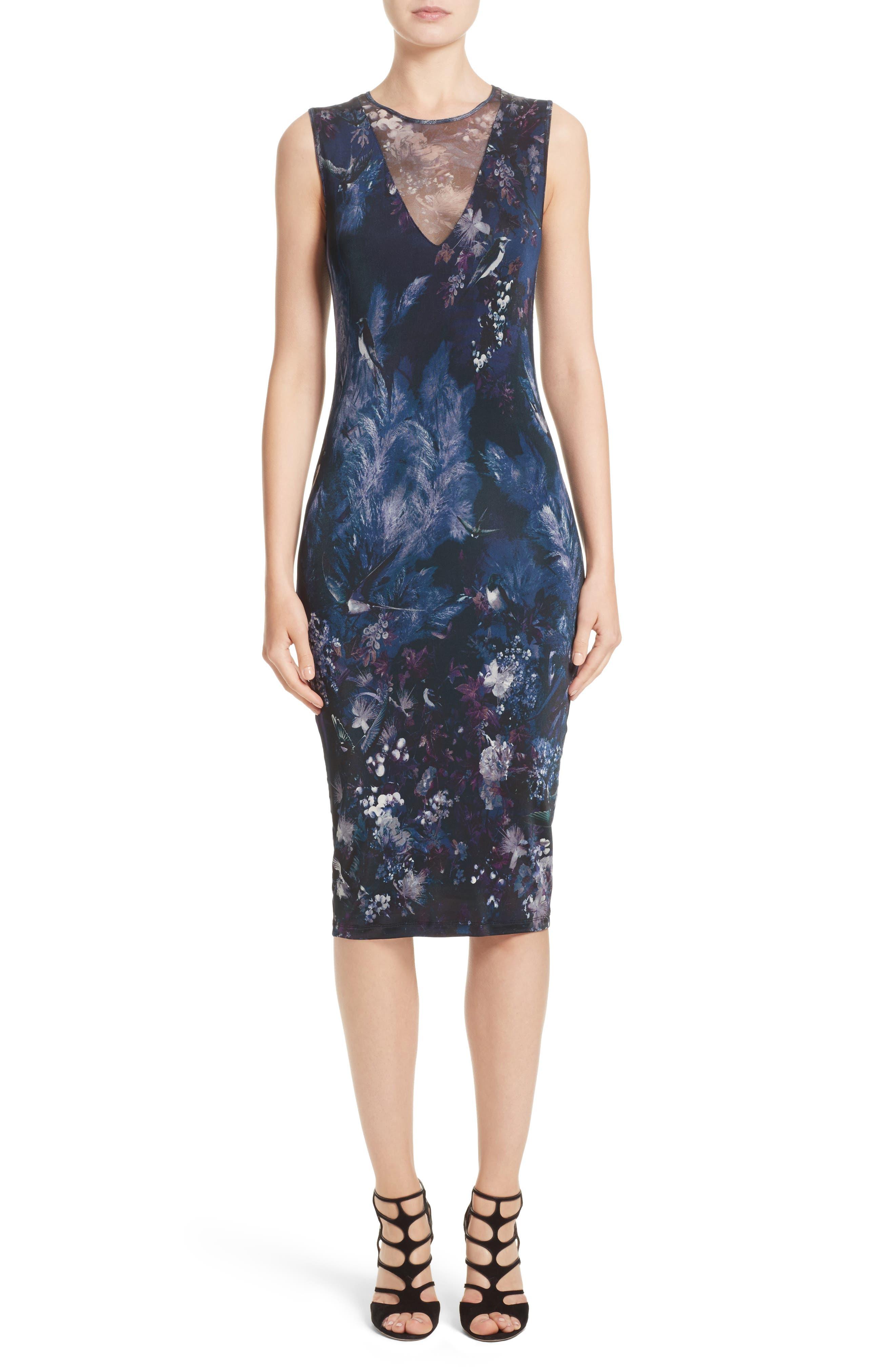 Hummingbird Print Jersey Dress,                         Main,                         color, Tenebra