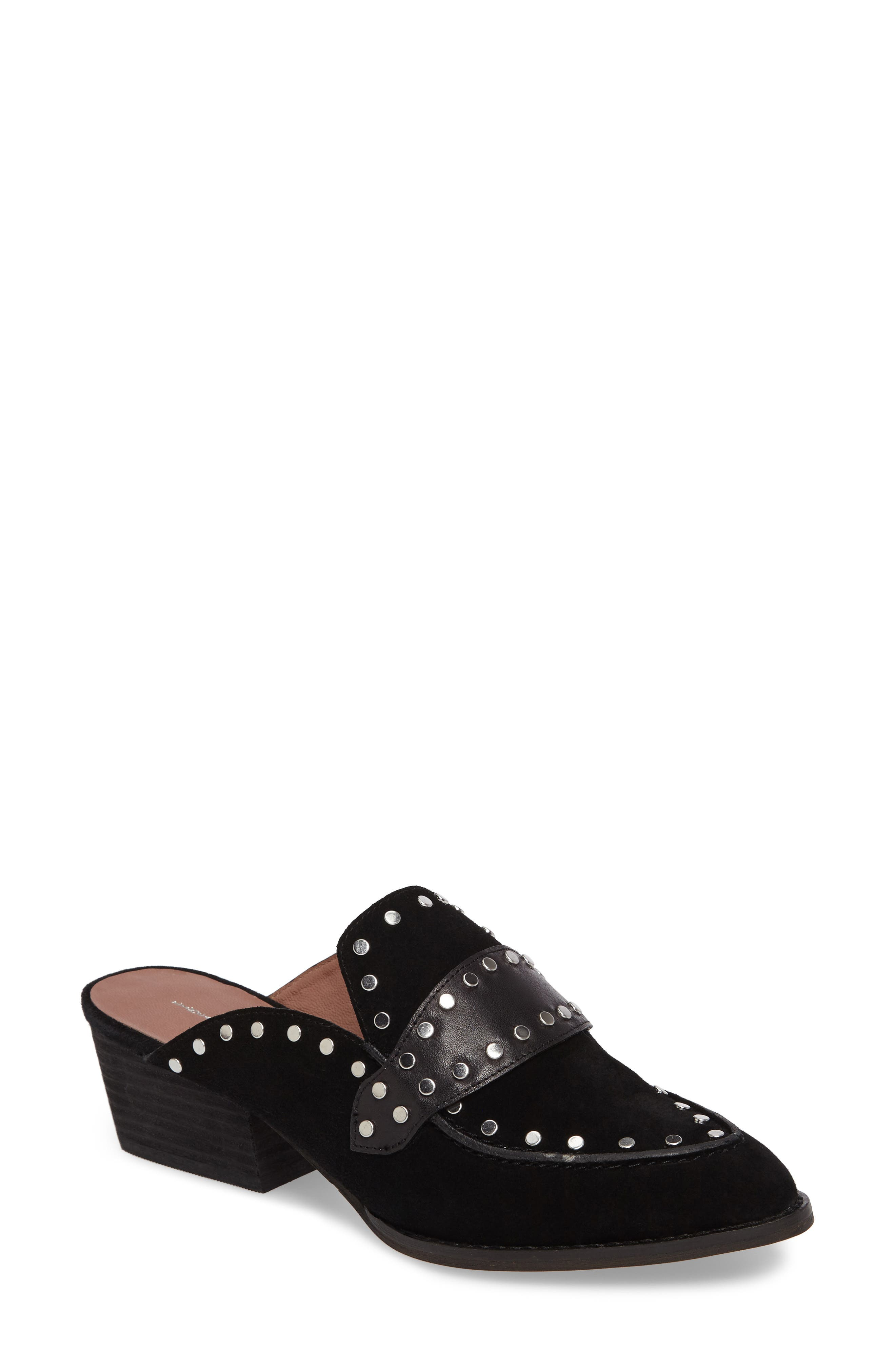 Donna Studded Mule,                             Main thumbnail 1, color,                             Black Suede