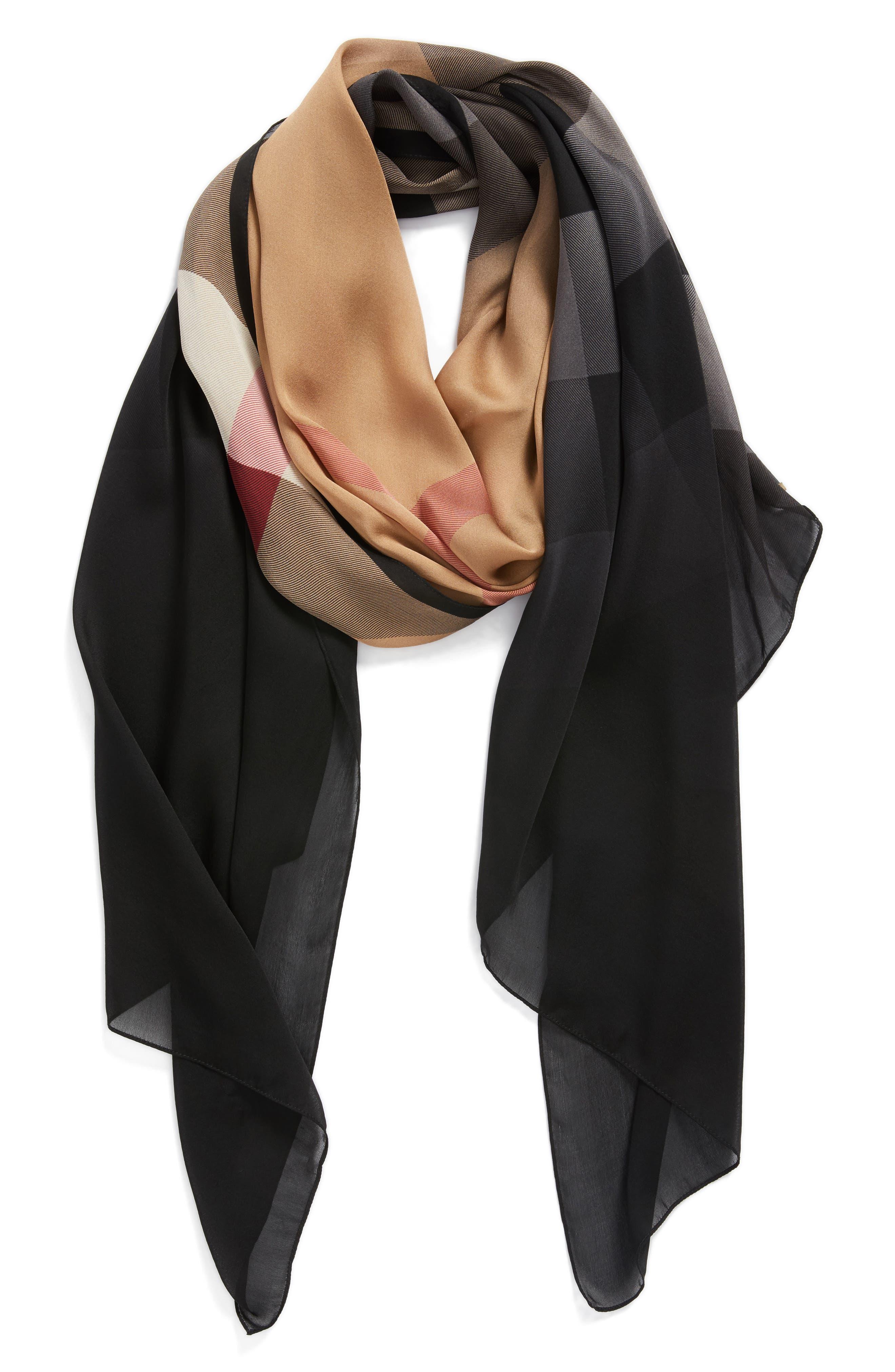 Burberry Ombré Check Silk Scarf