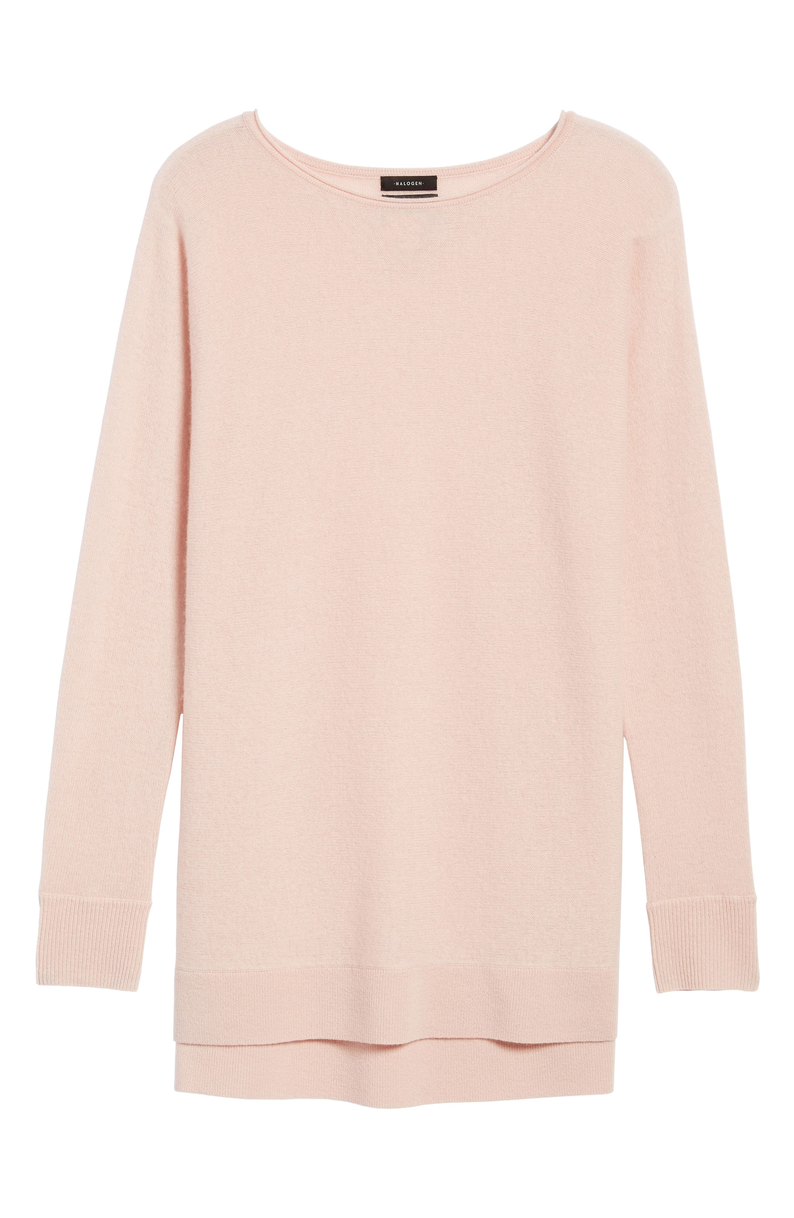 High/Low Wool & Cashmere Tunic Sweater,                             Alternate thumbnail 6, color,                             Pink Smoke
