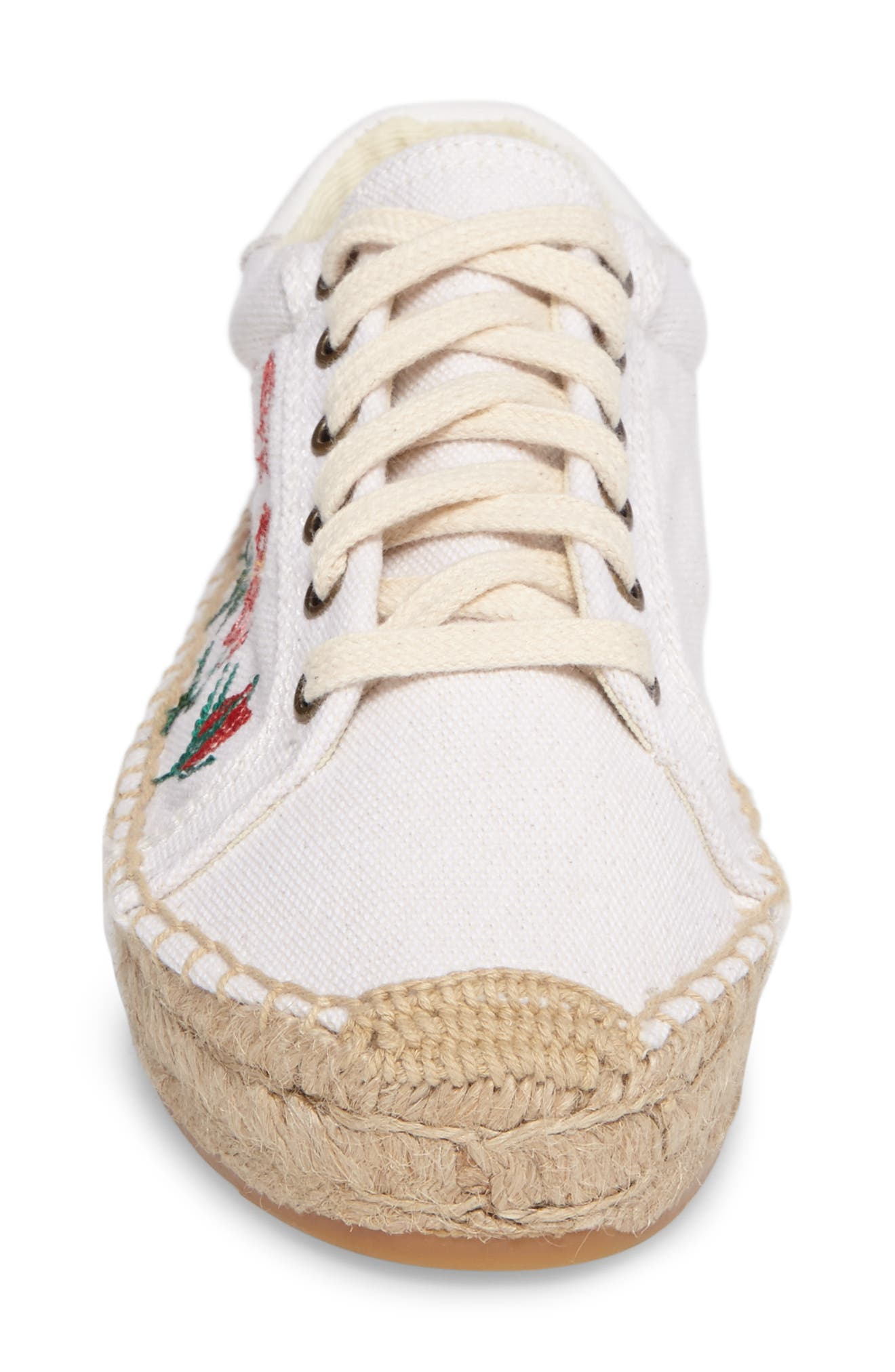 Floral Embroidered Espadrille Sneaker,                             Alternate thumbnail 5, color,                             White Canvas