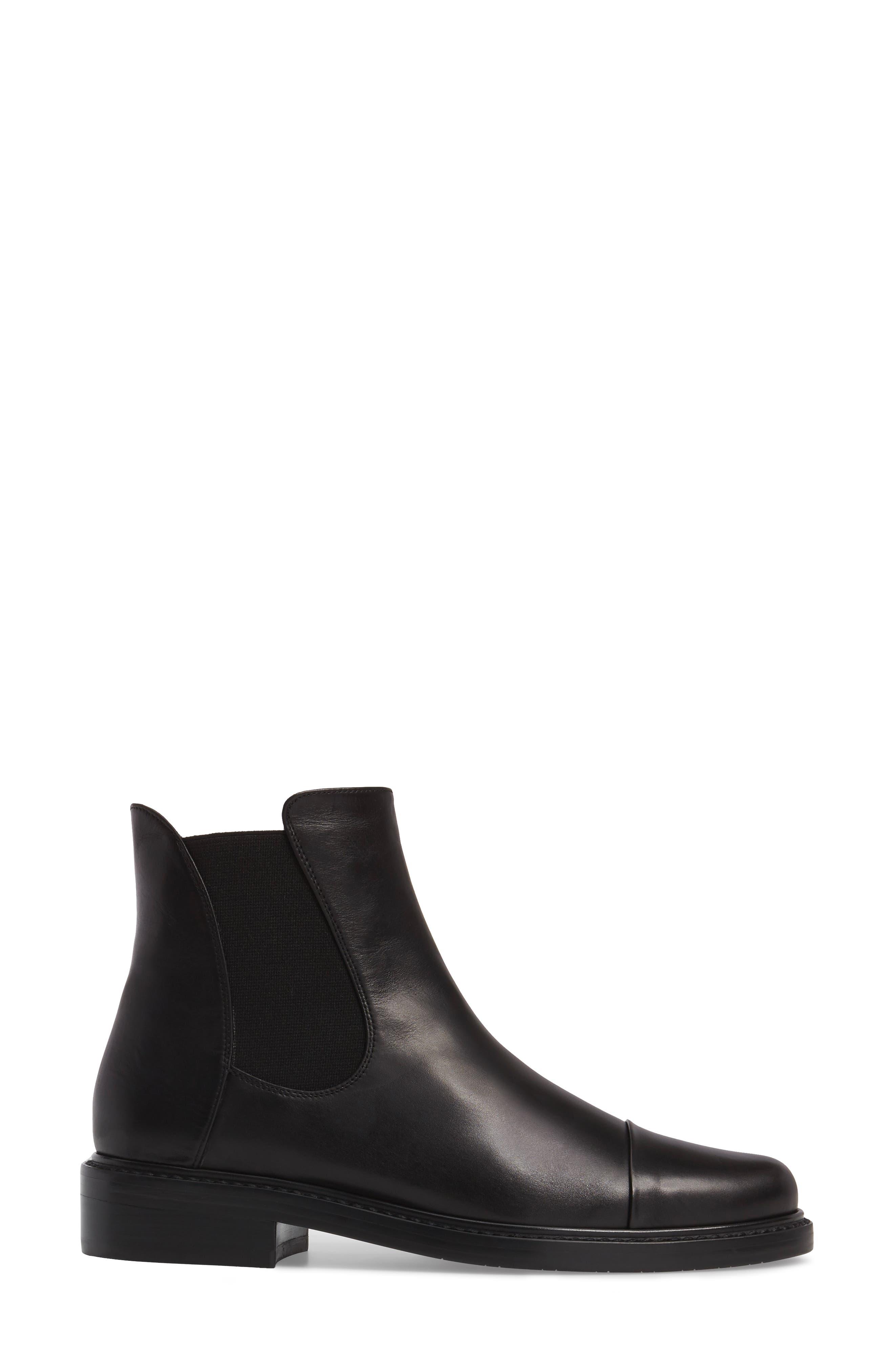 Gobi Cap Toe Chelsea Boot,                             Alternate thumbnail 3, color,                             Black Calf