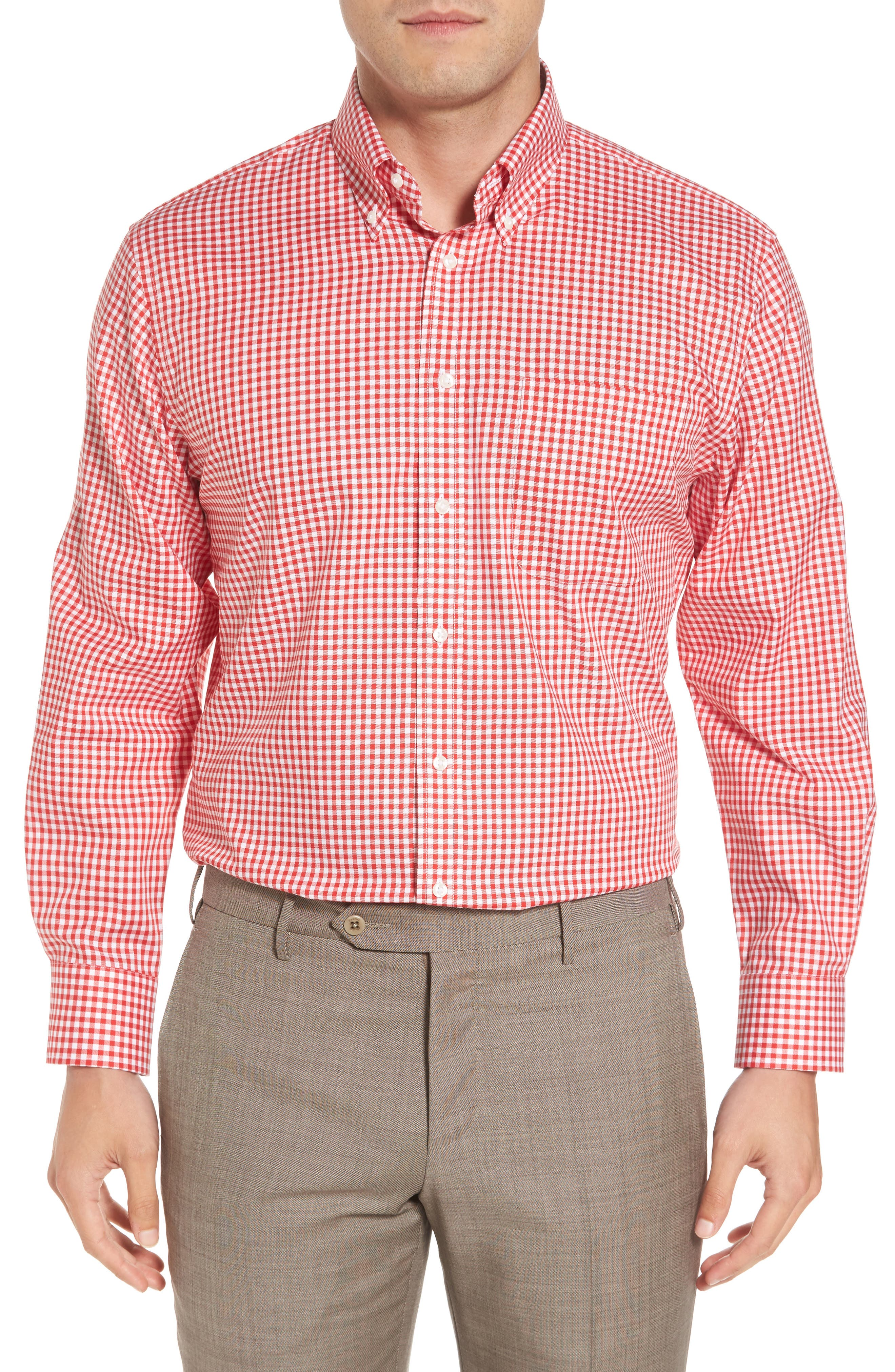 Traditional Fit Non-Iron Gingham Dress Shirt,                             Main thumbnail 1, color,                             Red Blaze