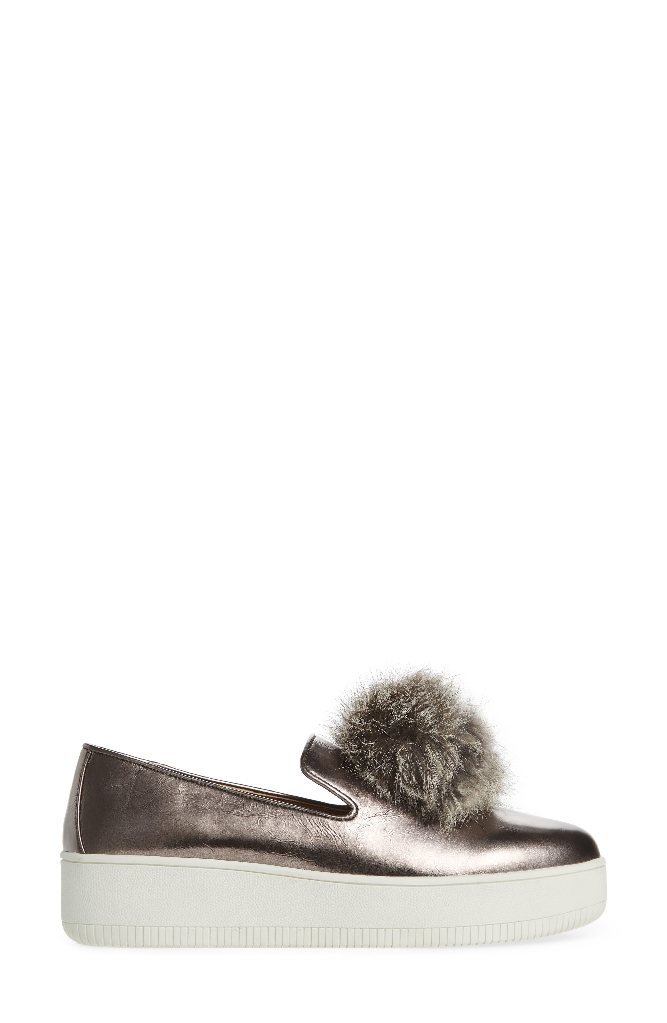 Alternate Image 3  - Linea Paolo Sammy Platform Sneaker with Genuine Rabbit Fur Pompom (Women)