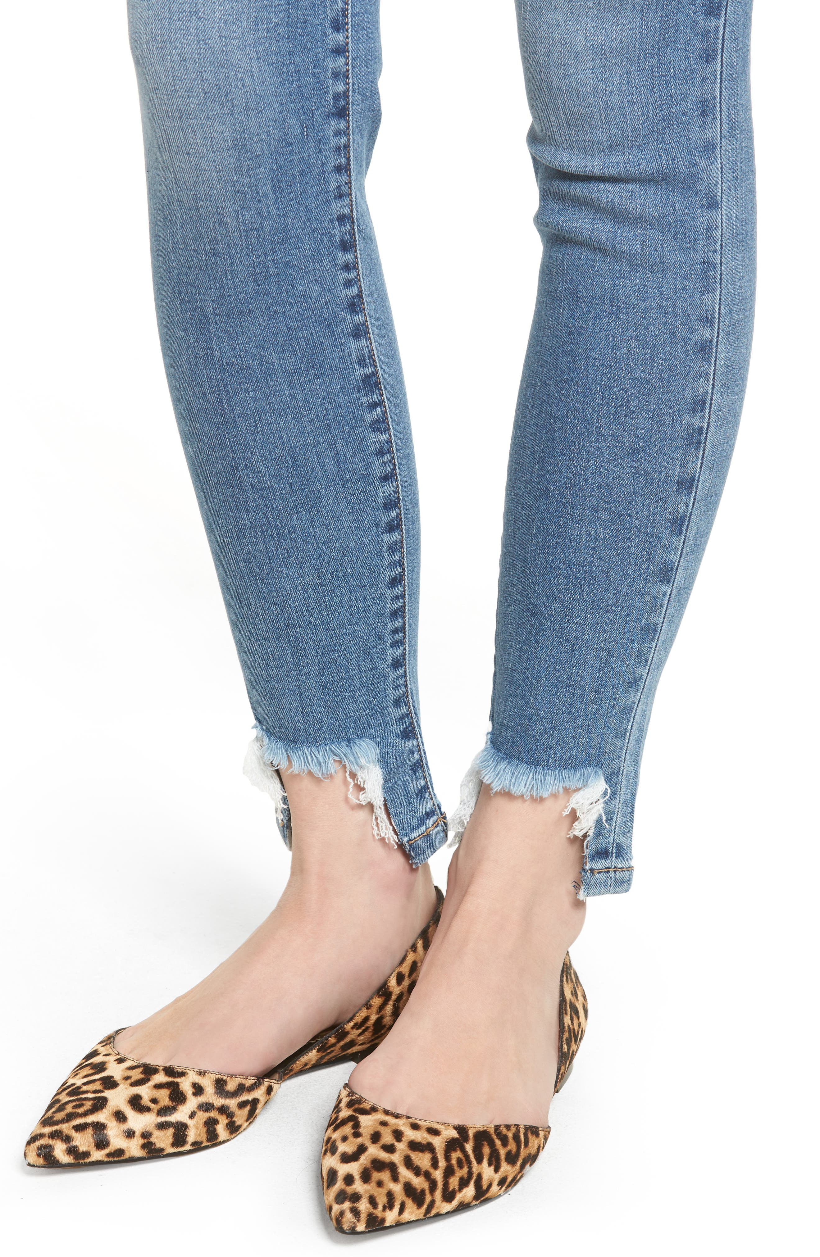 Alternate Image 4  - SP Black High Waist Raw Step Hem Jeans