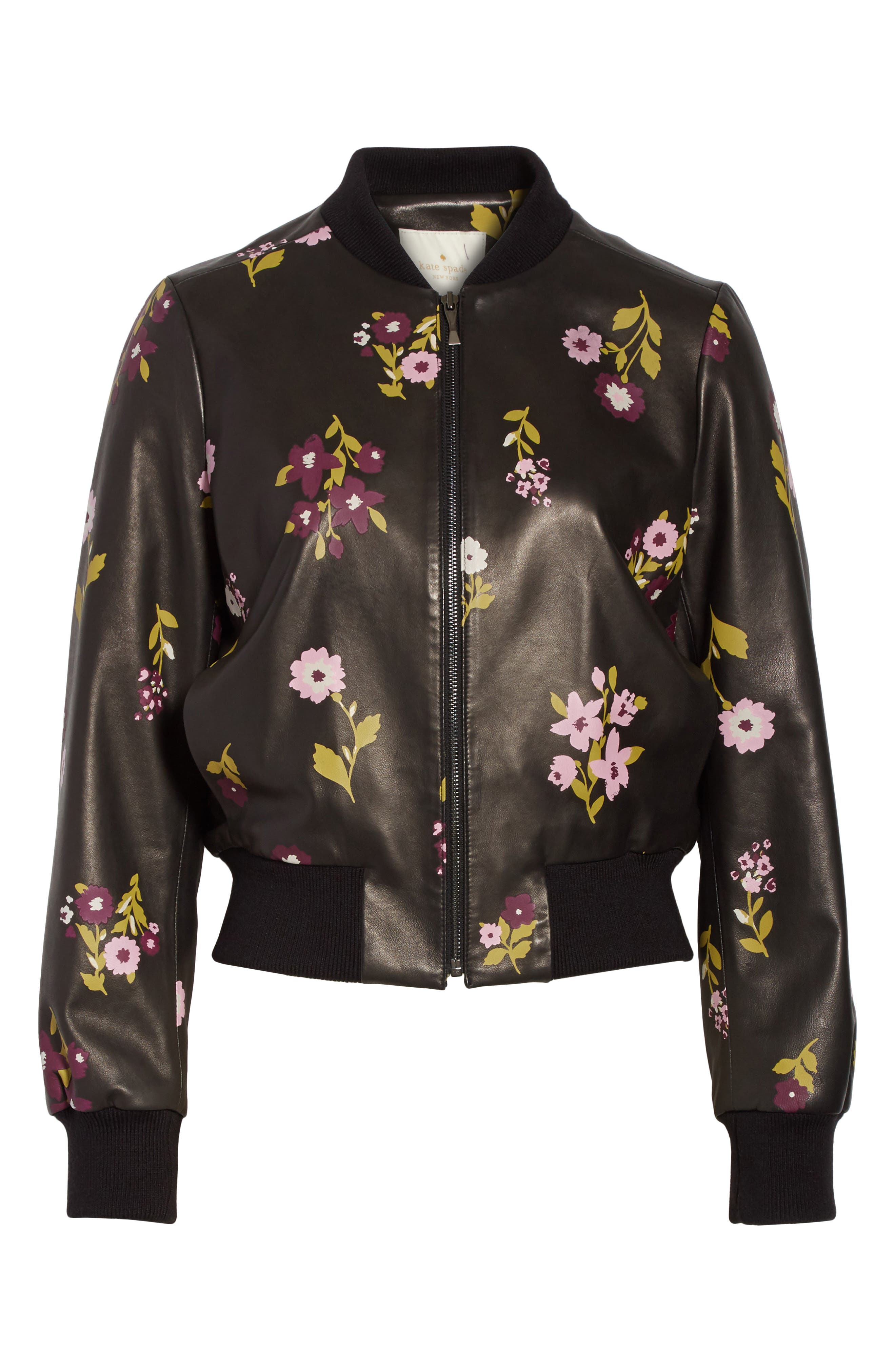 in bloom leather bomber jacket,                             Alternate thumbnail 6, color,                             Black