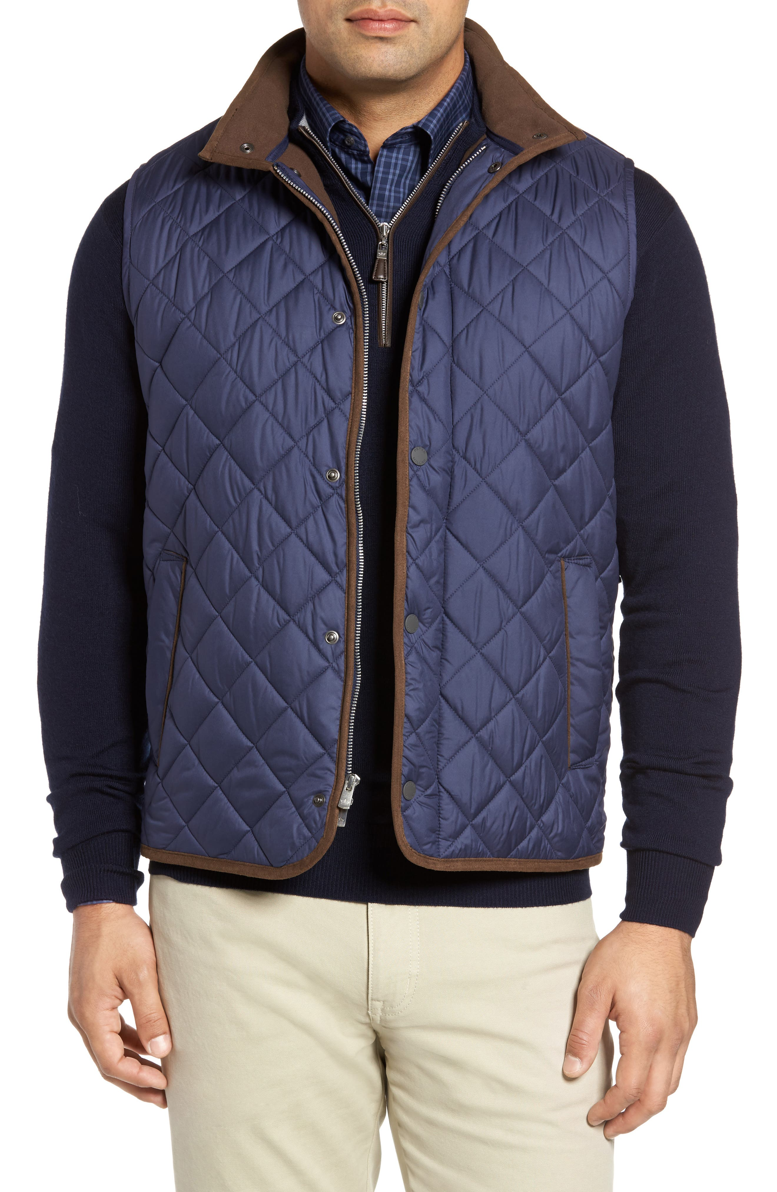 Essex Quilted Vest,                         Main,                         color, Perfect Navy