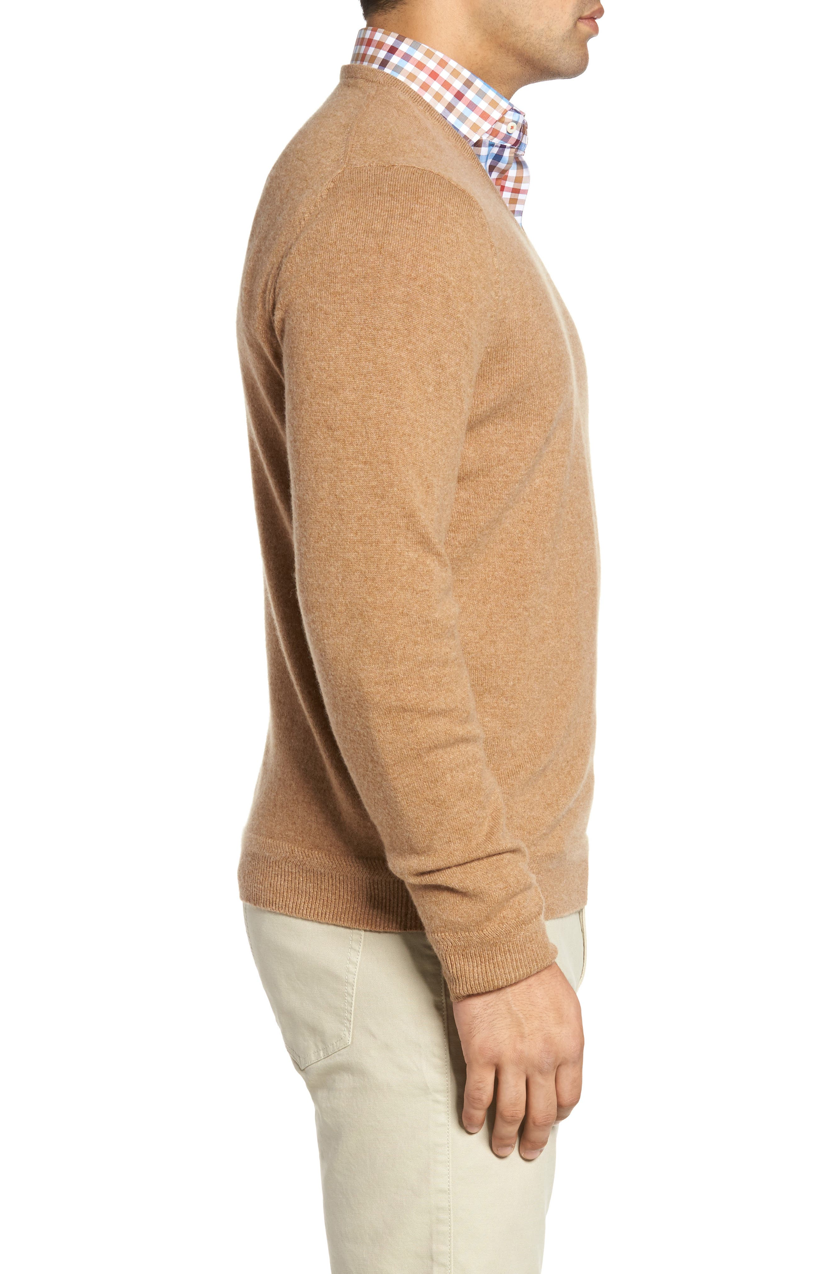 John W. Nordstrom Cashmere V-Neck Sweater,                             Alternate thumbnail 3, color,                             Brown Bear