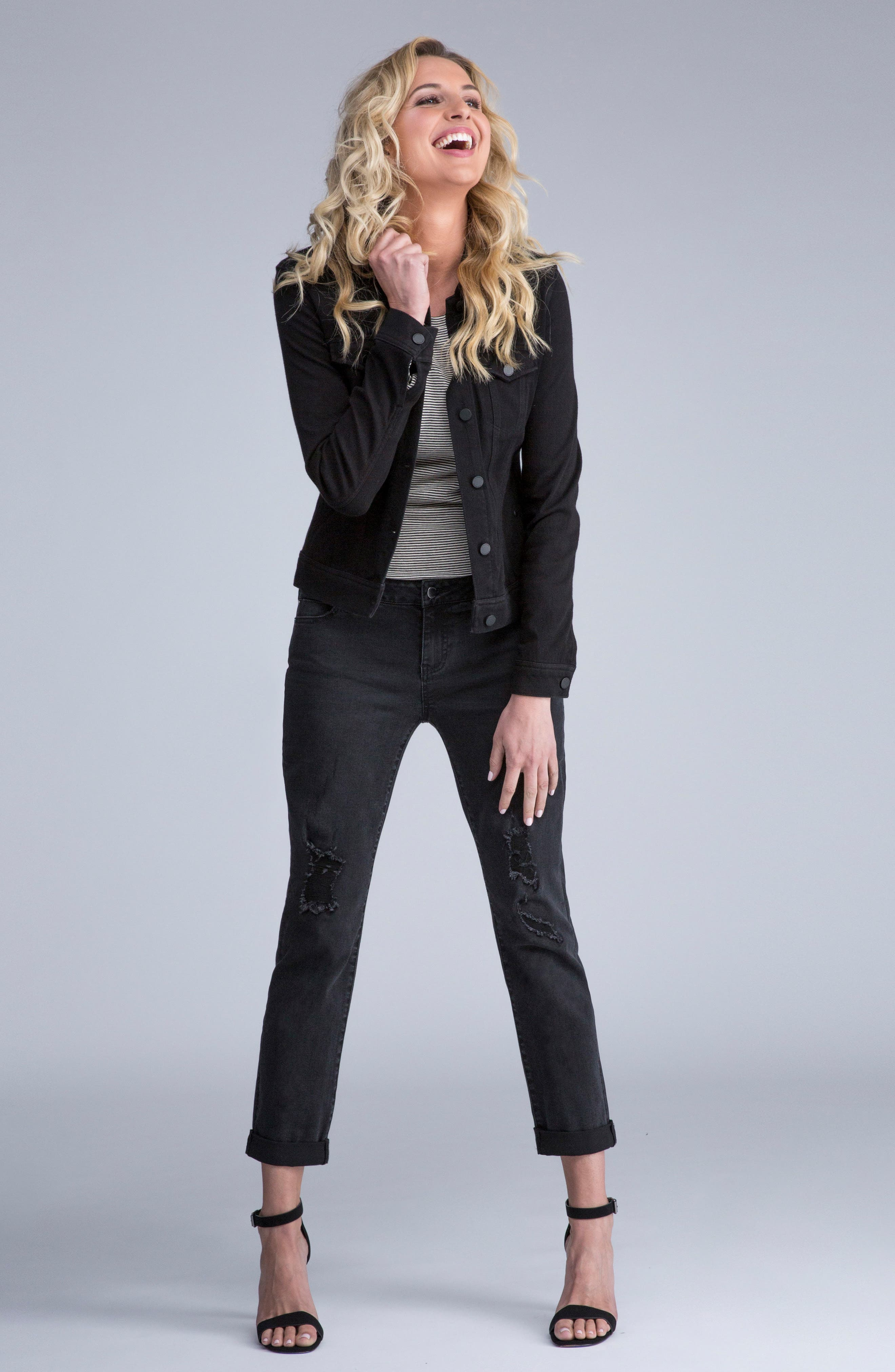 Alternate Image 2  - Liverpool Jeans Co. Knit Denim Jacket (Petite)