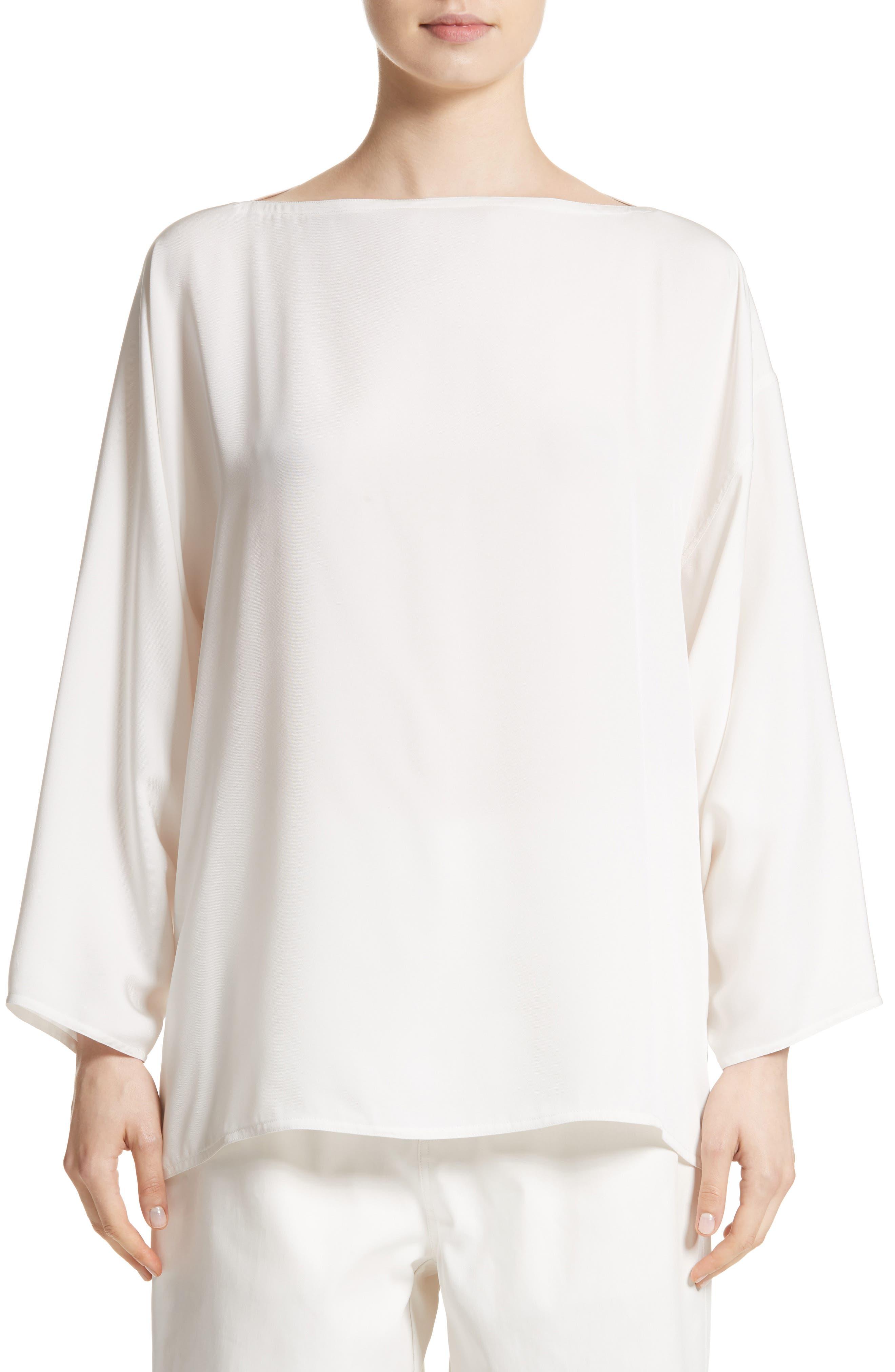 Bateau Neck Silk Blouse,                         Main,                         color, White