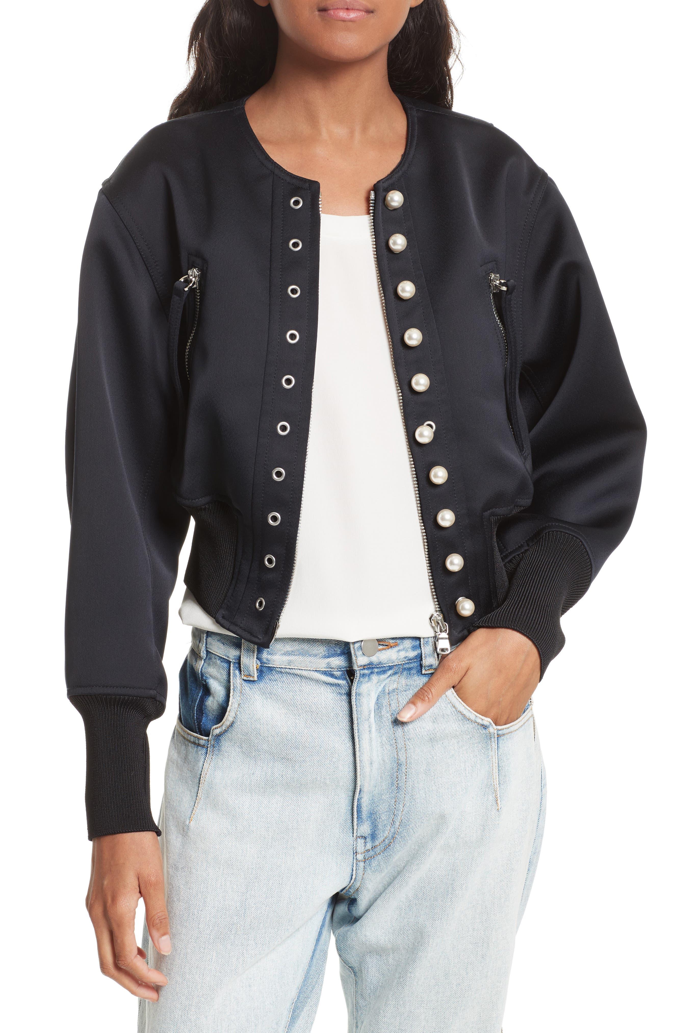 Grommet & Faux Pearl Embellished Bomber Jacket,                         Main,                         color, Phantom Blue