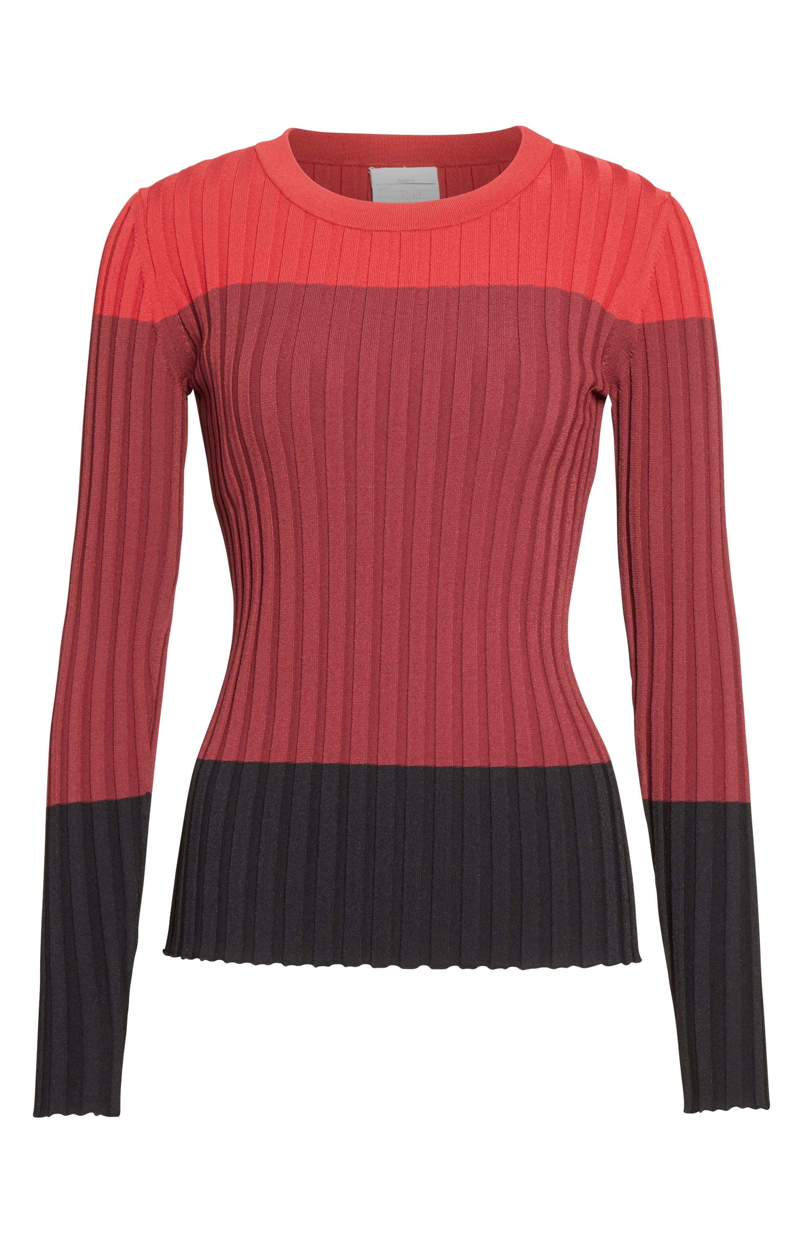 Leila Colorblock Knit Sweater,                             Alternate thumbnail 4, color,                             Port Multi