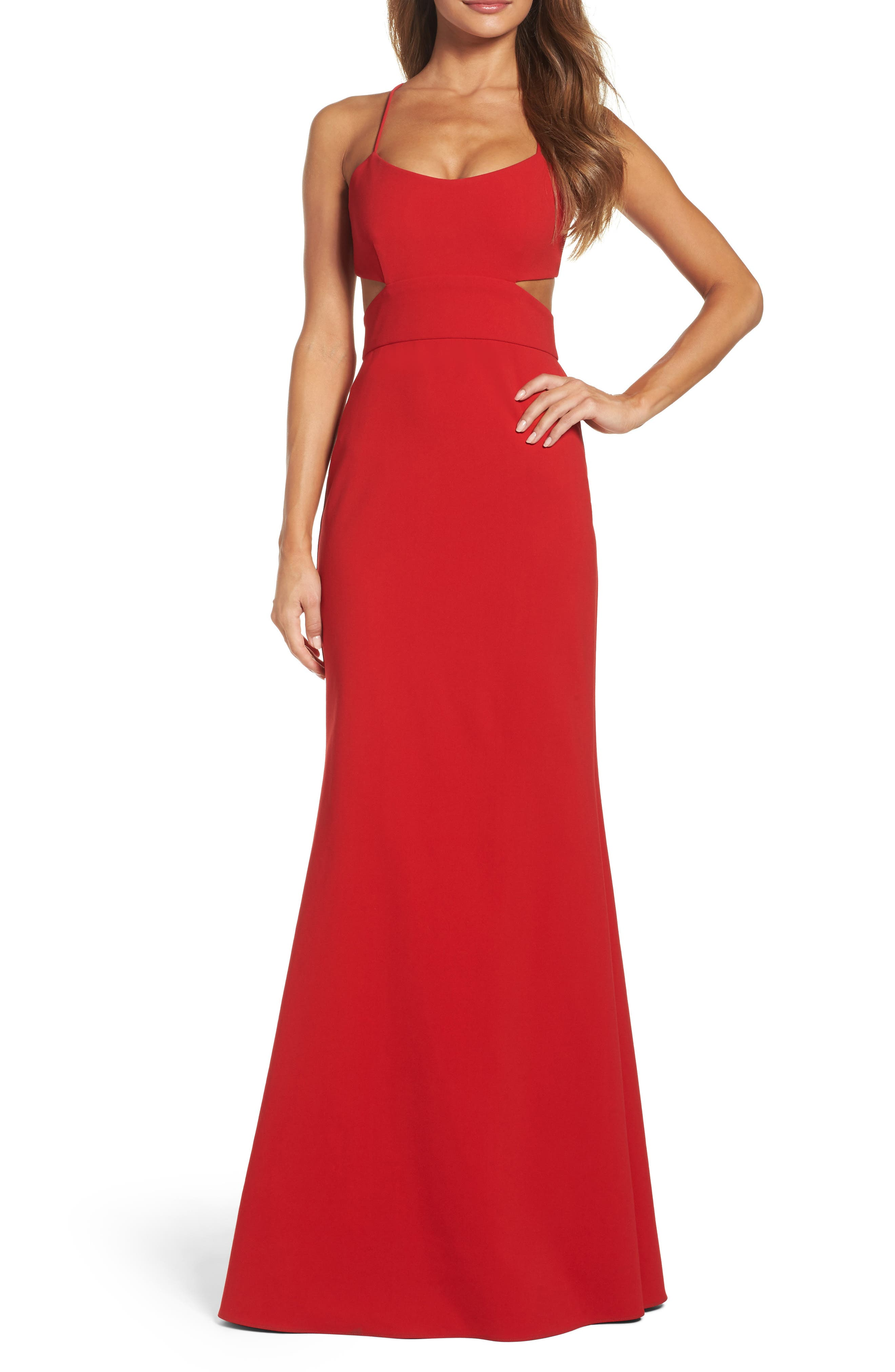 Cutout Gown,                             Main thumbnail 1, color,                             Cardinal