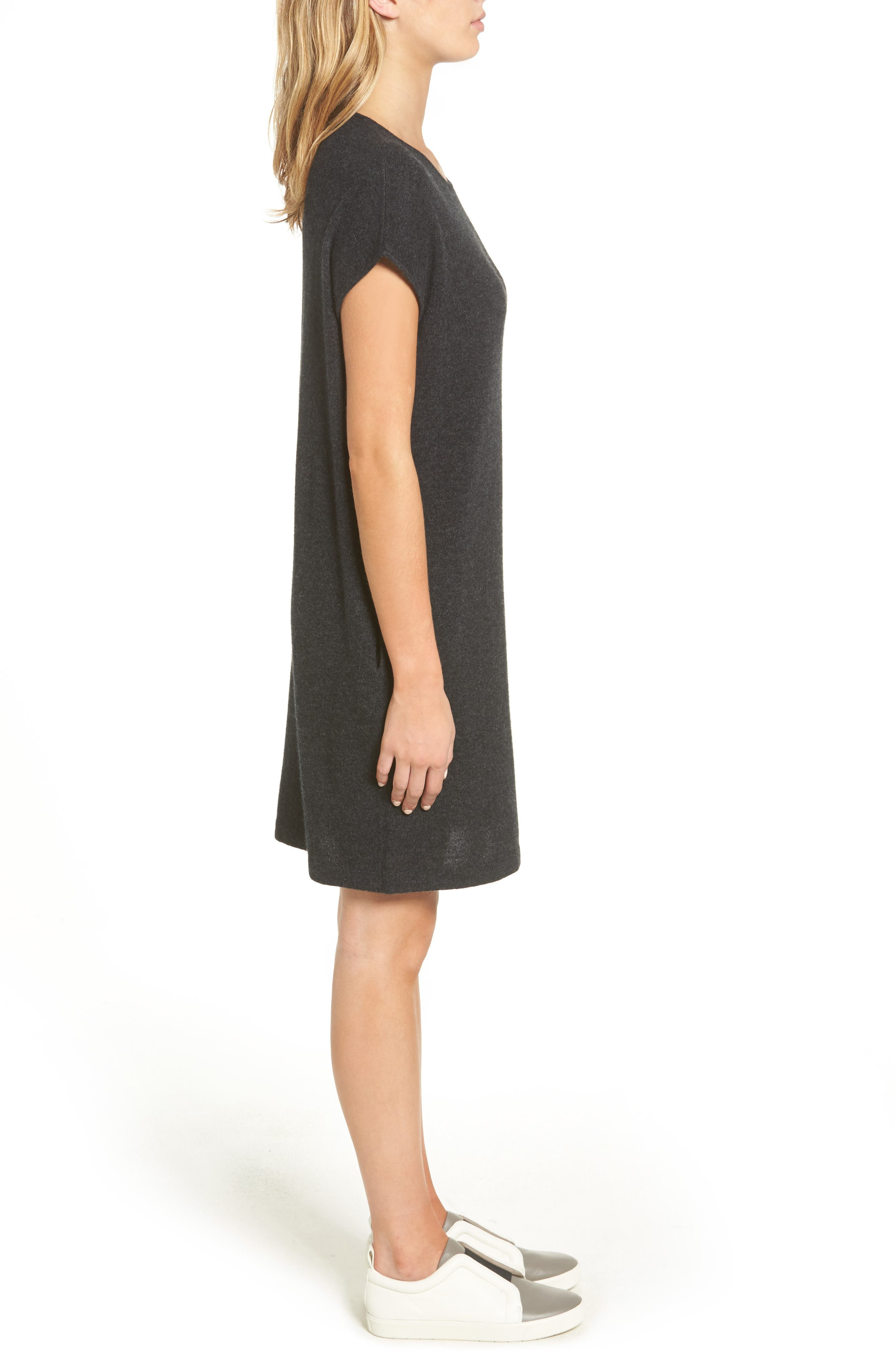 Cashmere Tunic Sweater Dress,                             Alternate thumbnail 3, color,                             Anthracite