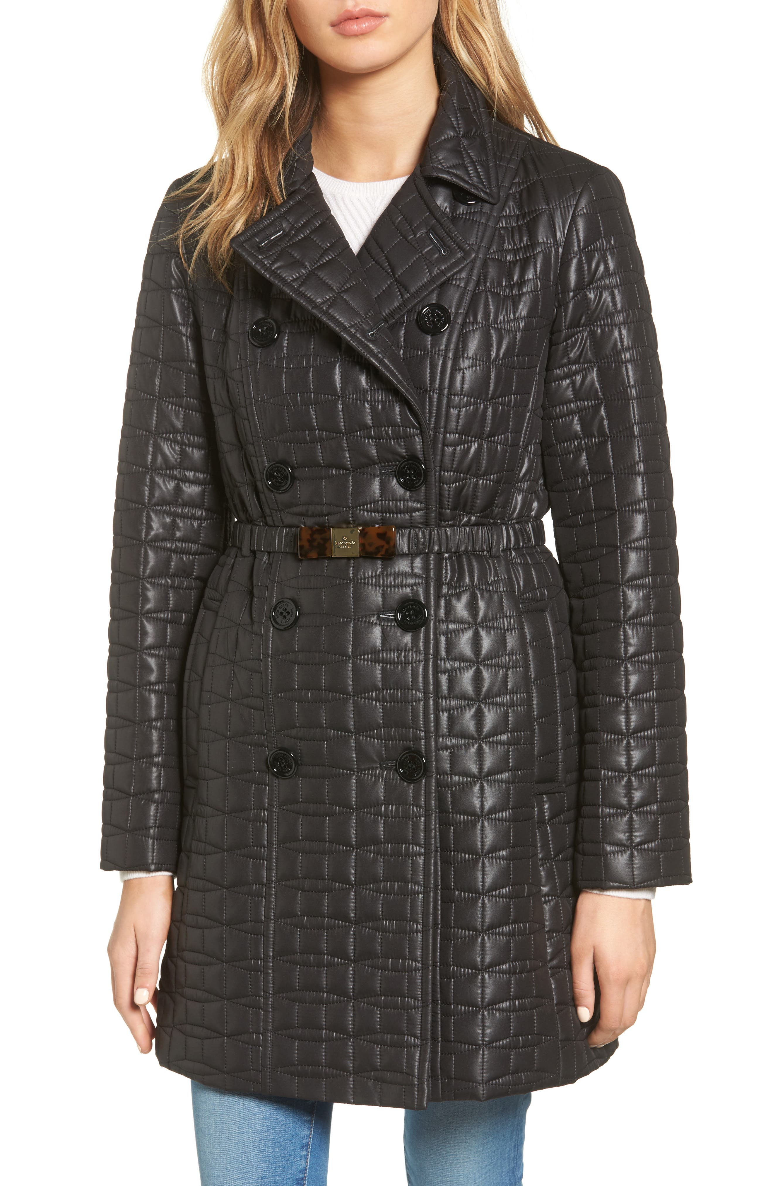 kate spade new york bow belt double-breasted quilted jacket