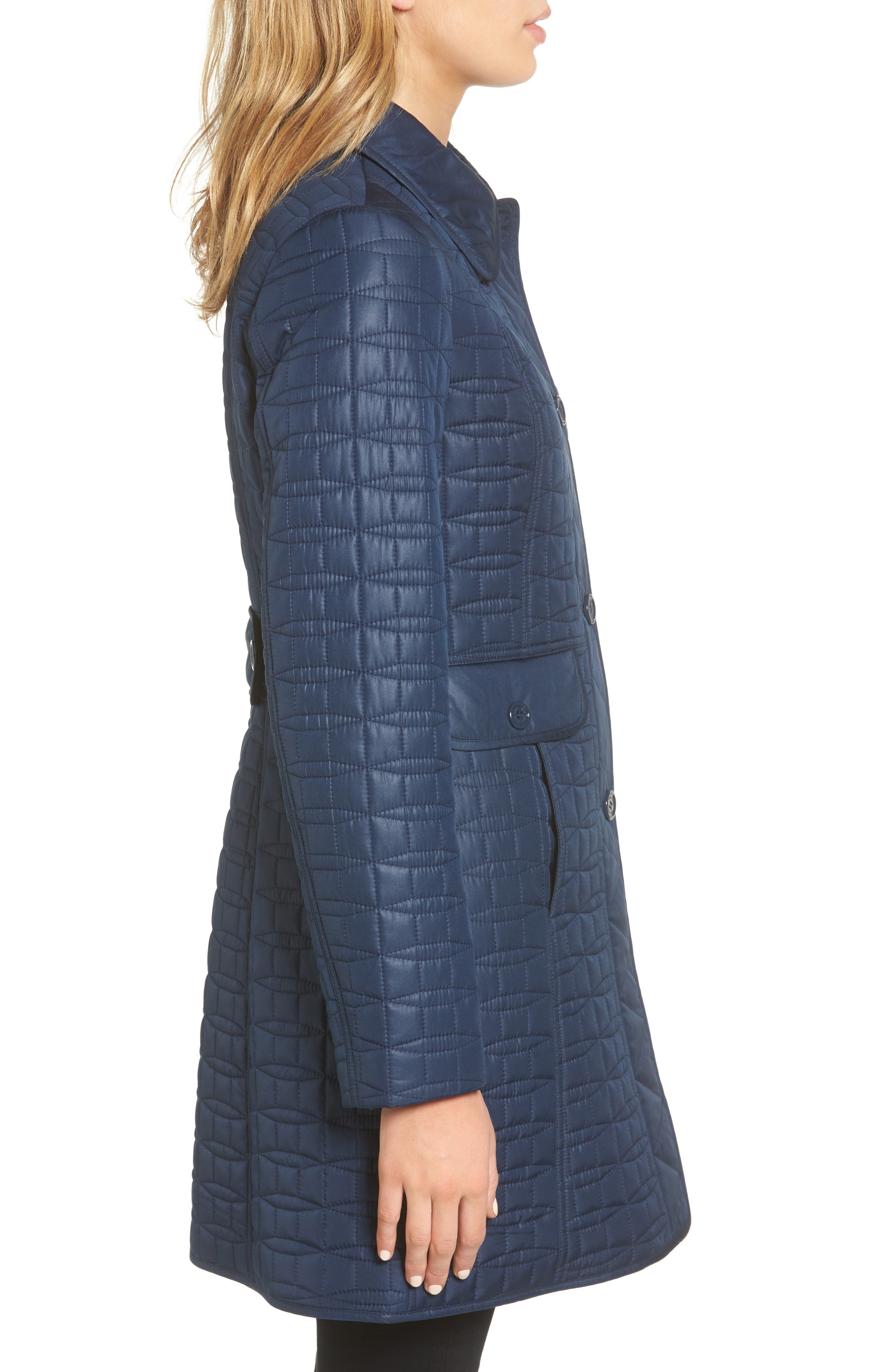 water resistant quilted coat,                             Alternate thumbnail 3, color,                             Rich Navy
