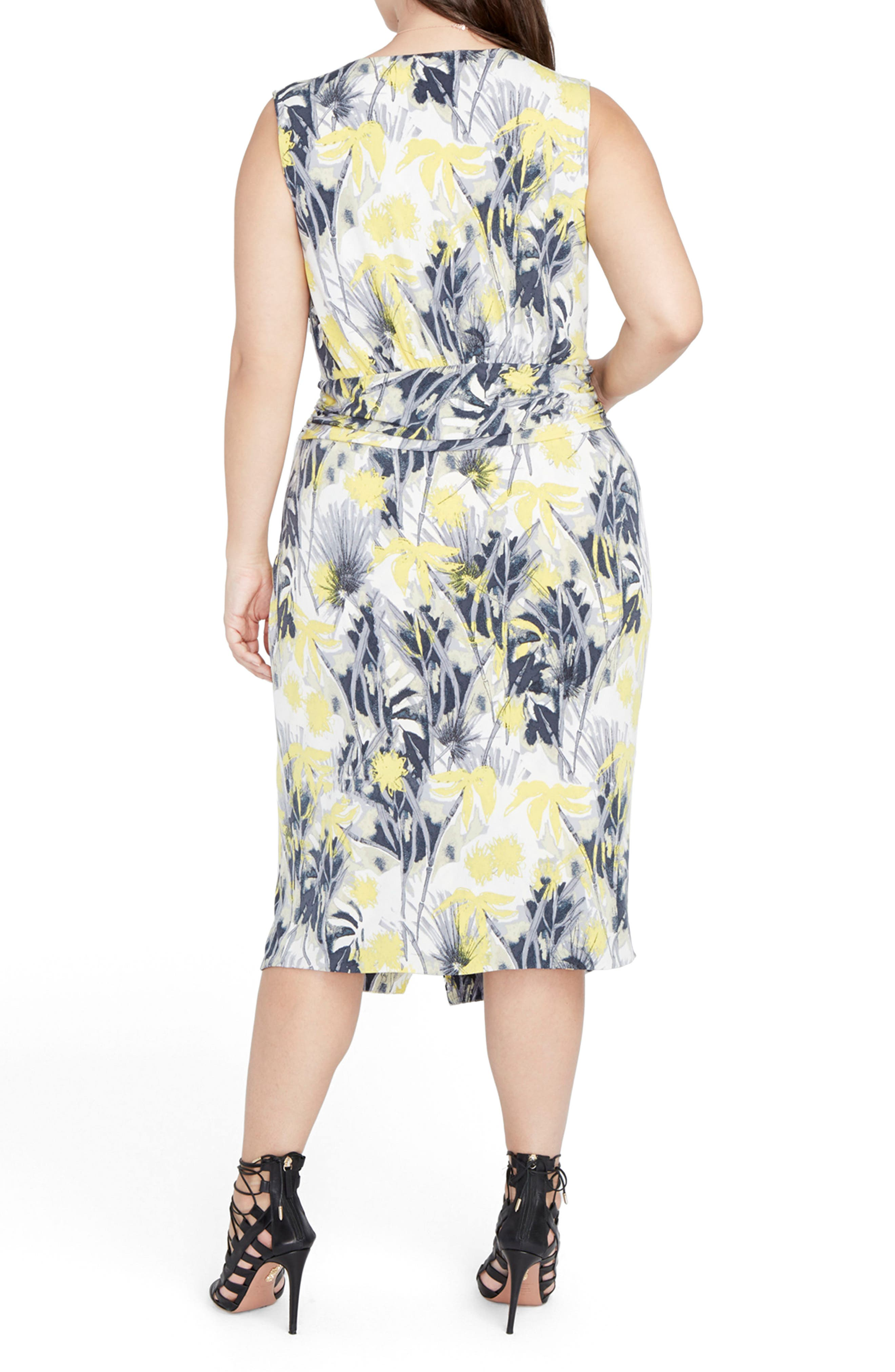 Print Ruched Waist Midi Dress,                             Alternate thumbnail 3, color,                             Yellow Combo