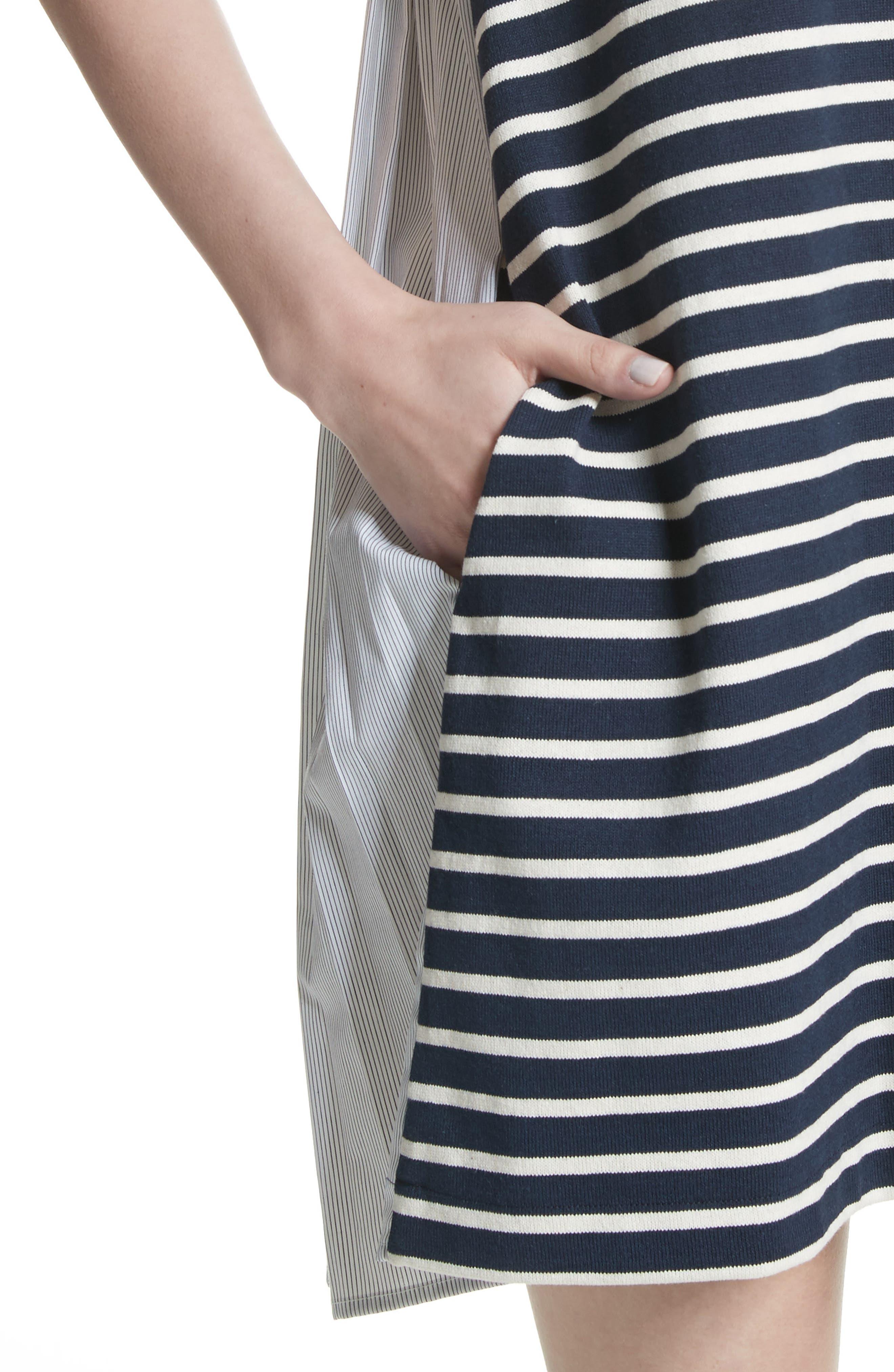 Latch Back Tunic Dress,                             Alternate thumbnail 4, color,                             Navy/ Cream Multi