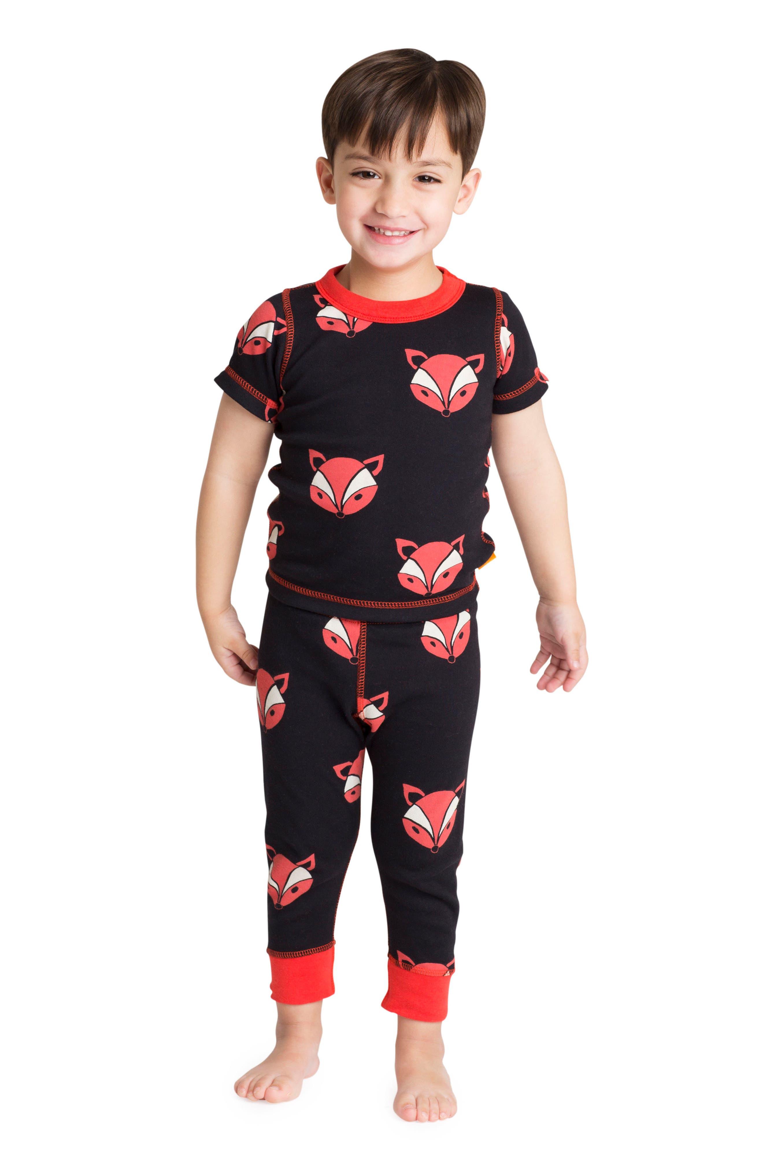 Alternate Image 2  - Masasla Baby Fox Organic Cotton Fitted Two-Piece Pajamas (Baby)