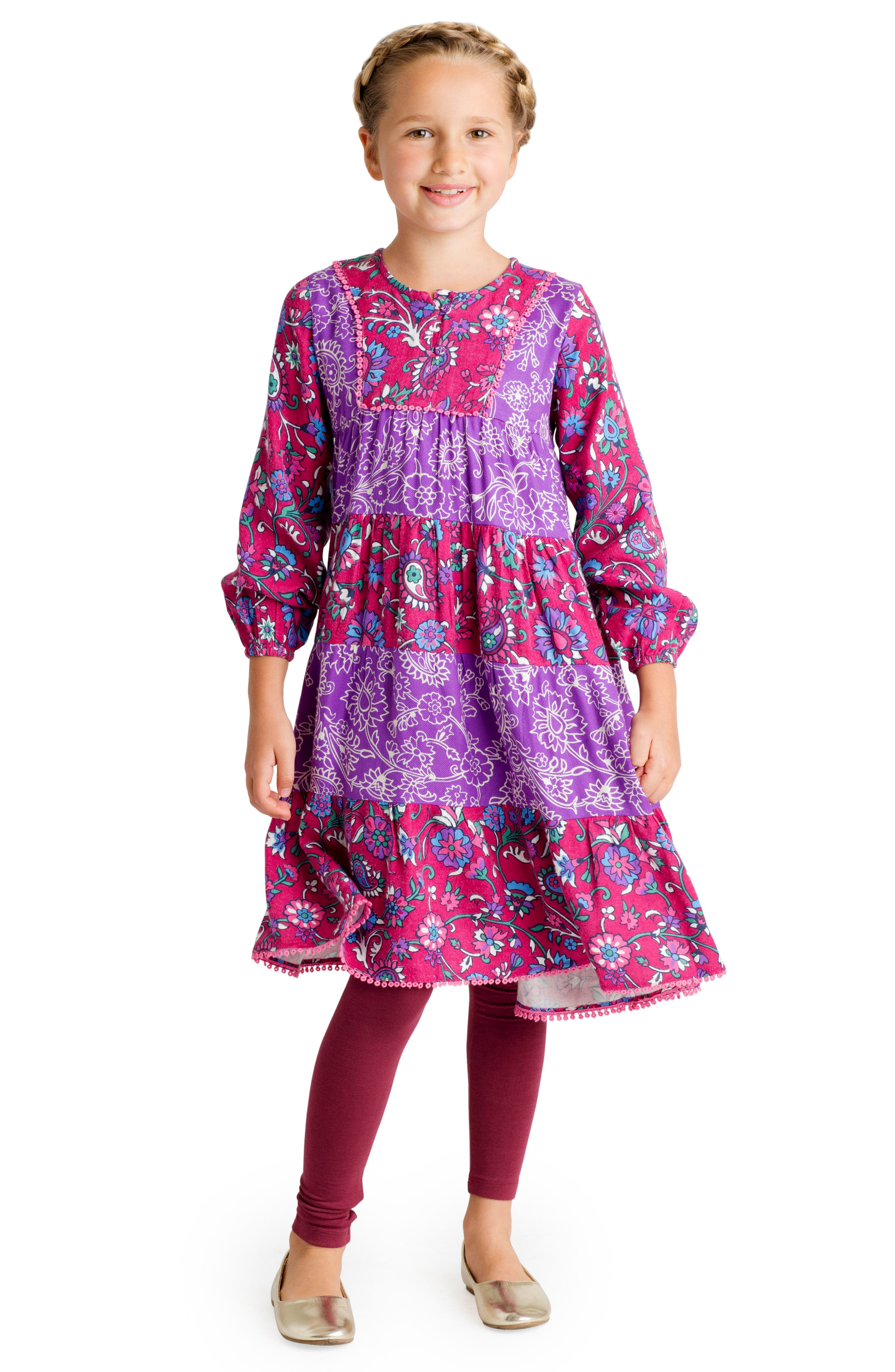 Tiered Floral Dress,                             Alternate thumbnail 2, color,                             Purple Multi
