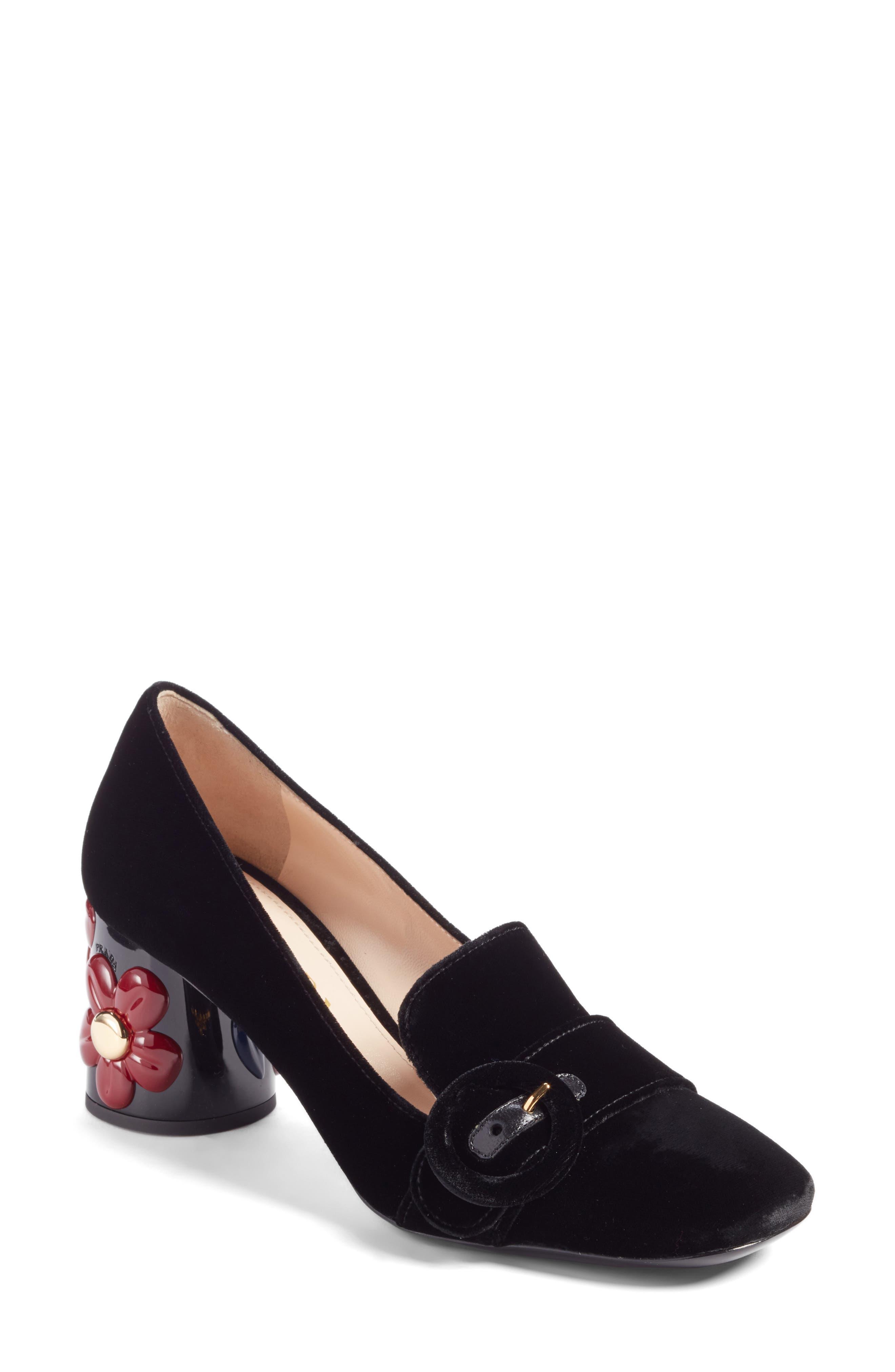 Prada Embellished Block Heel Loafer Pump (Women)