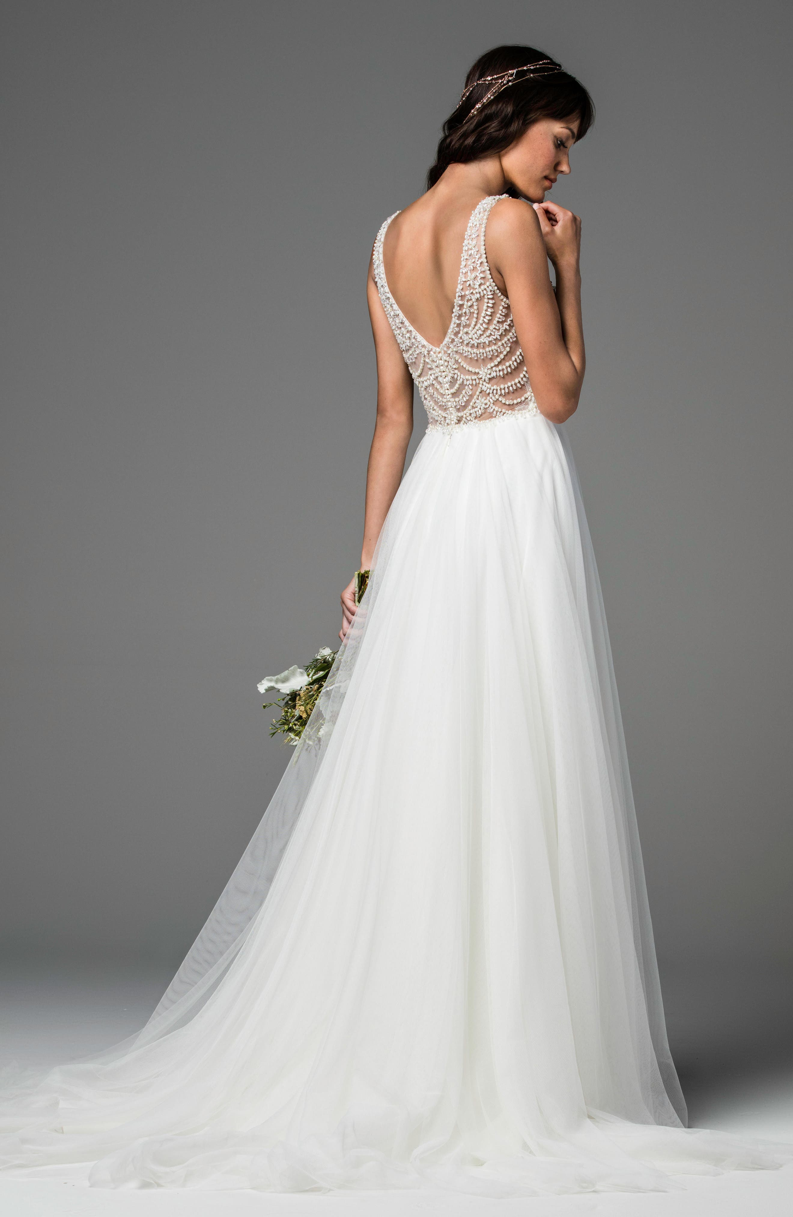 Alternate Image 2  - Willowby Locket Beaded Tulle A-Line Gown