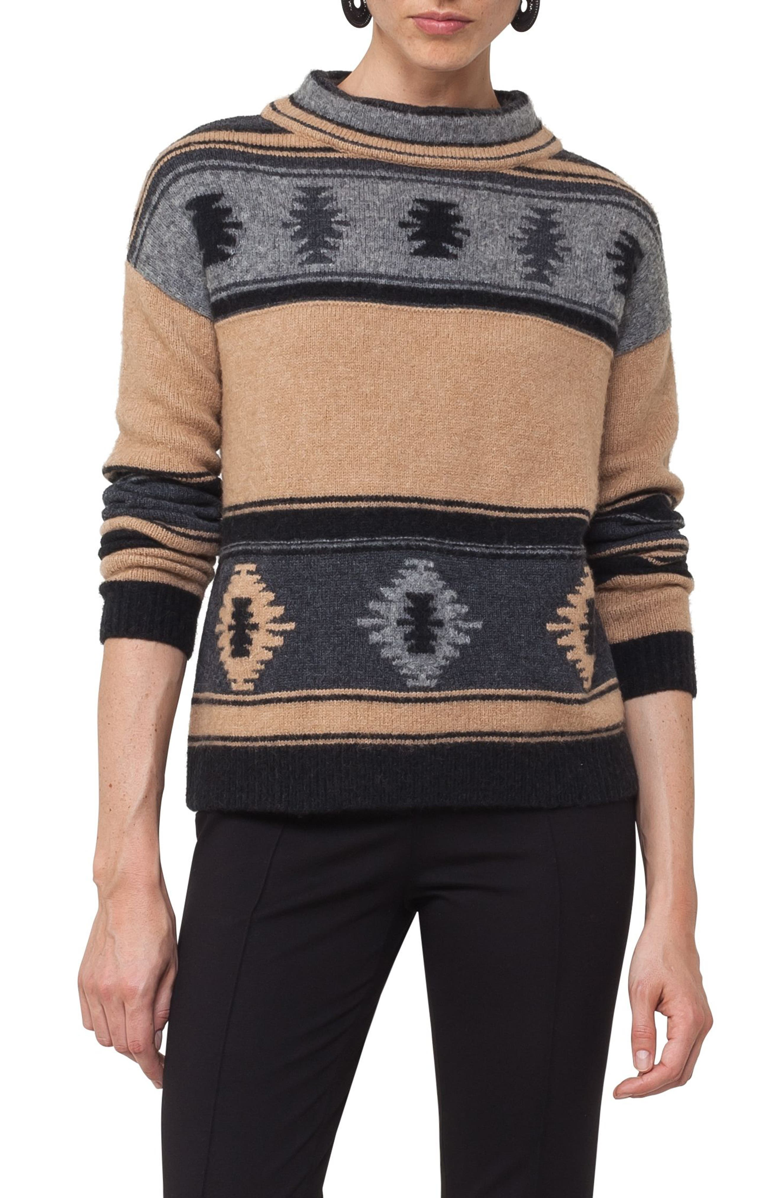 Wool Blend Pullover,                             Main thumbnail 1, color,                             Vicunia/ Stone/ Black