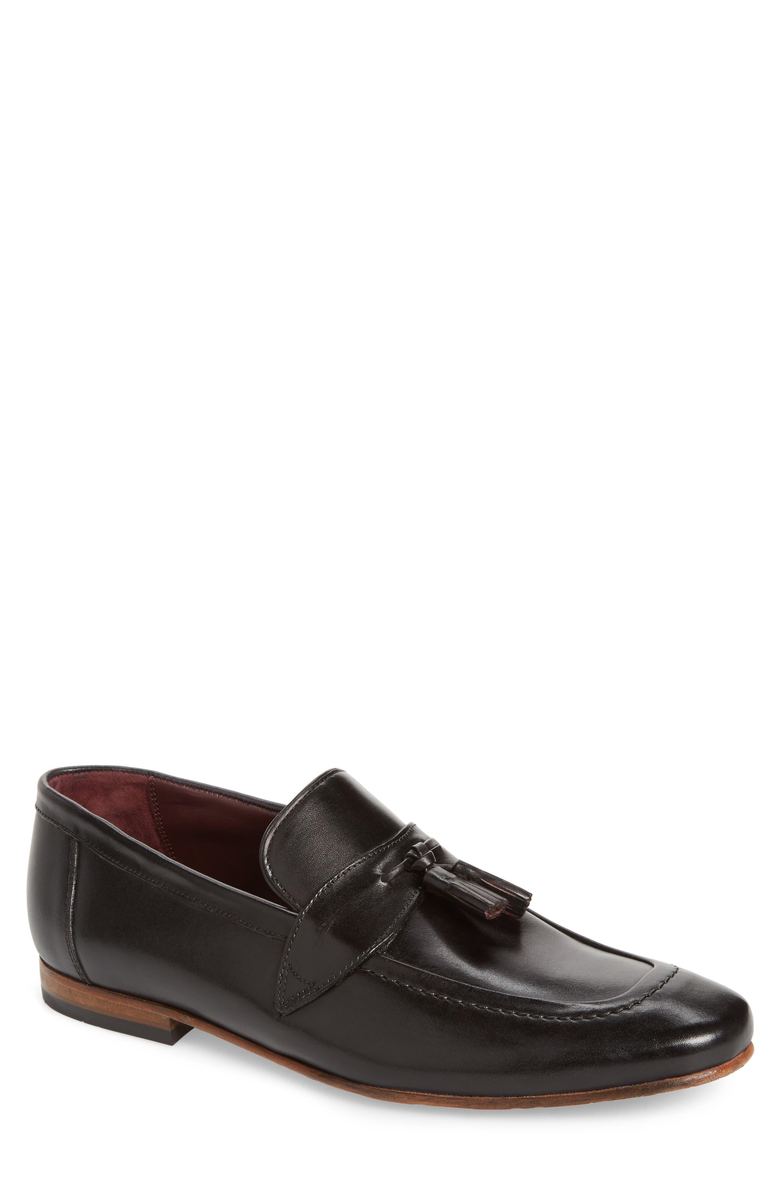 Grafit Tassel Loafer,                         Main,                         color, Black Leather