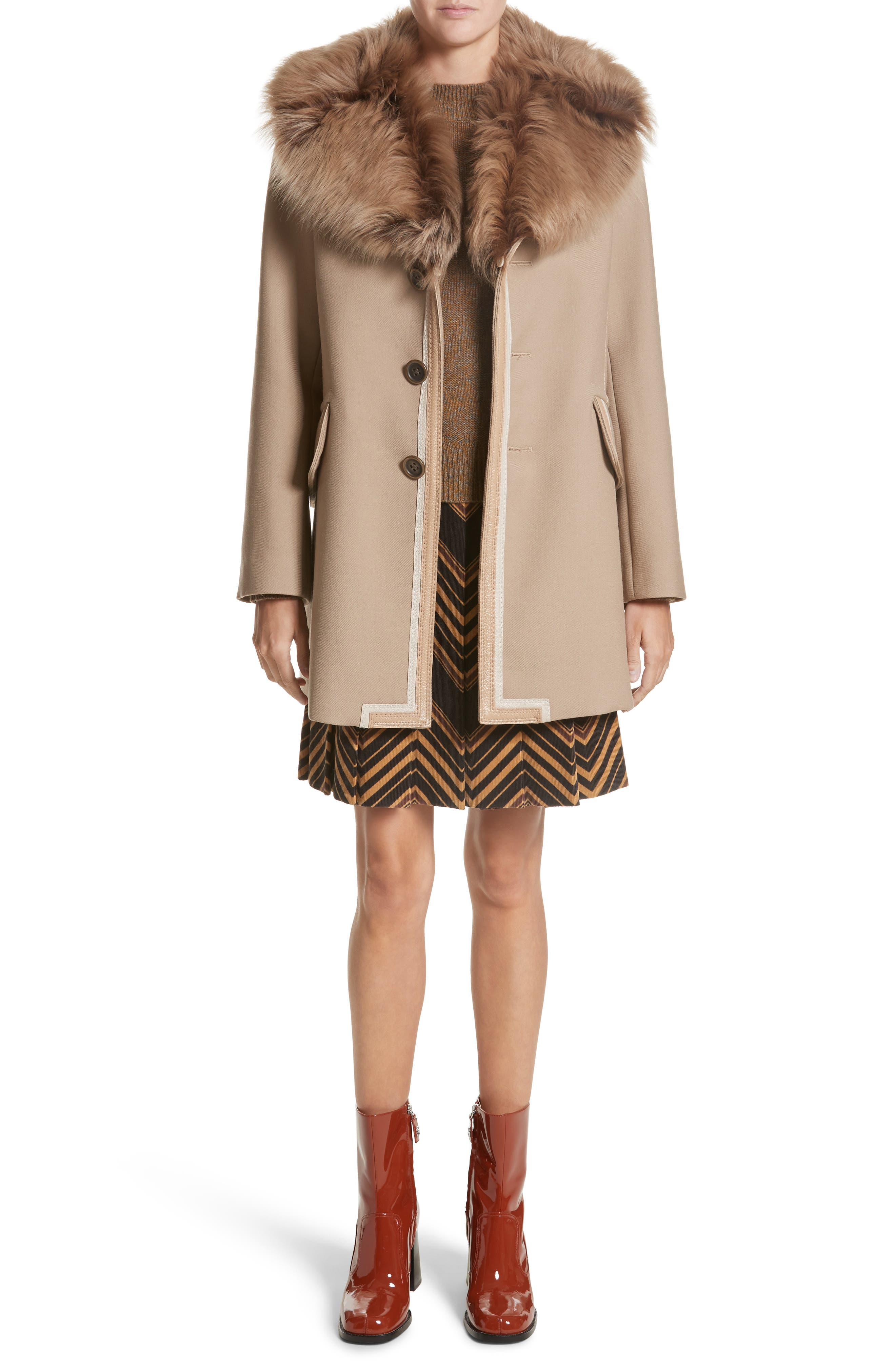 Double Face Wool Blend Coat with Removable Genuine Lamb Fur Collar,                             Alternate thumbnail 8, color,                             Beige