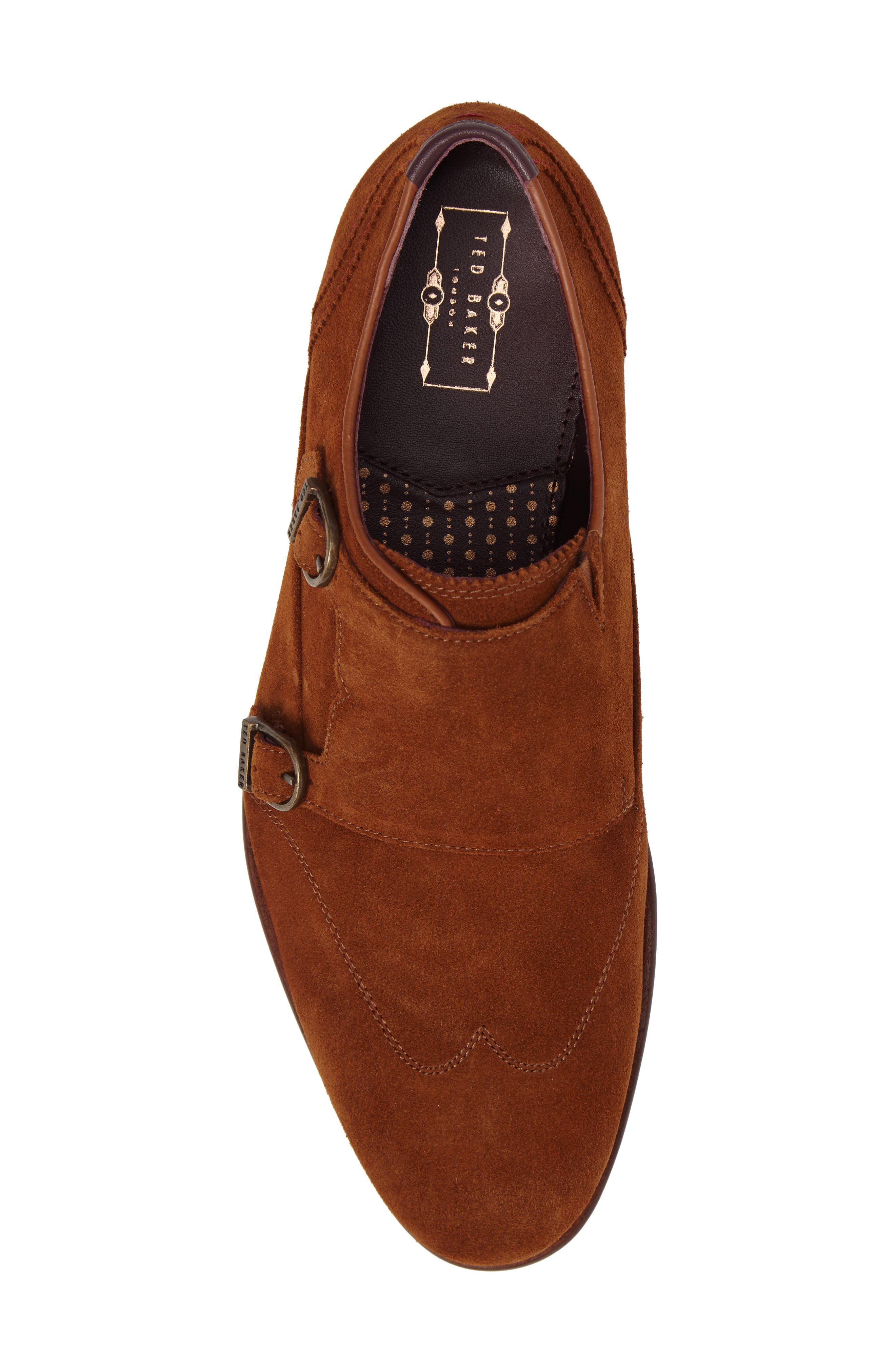 Rovere Wingtip Monk Shoe,                             Alternate thumbnail 5, color,                             Tan Suede