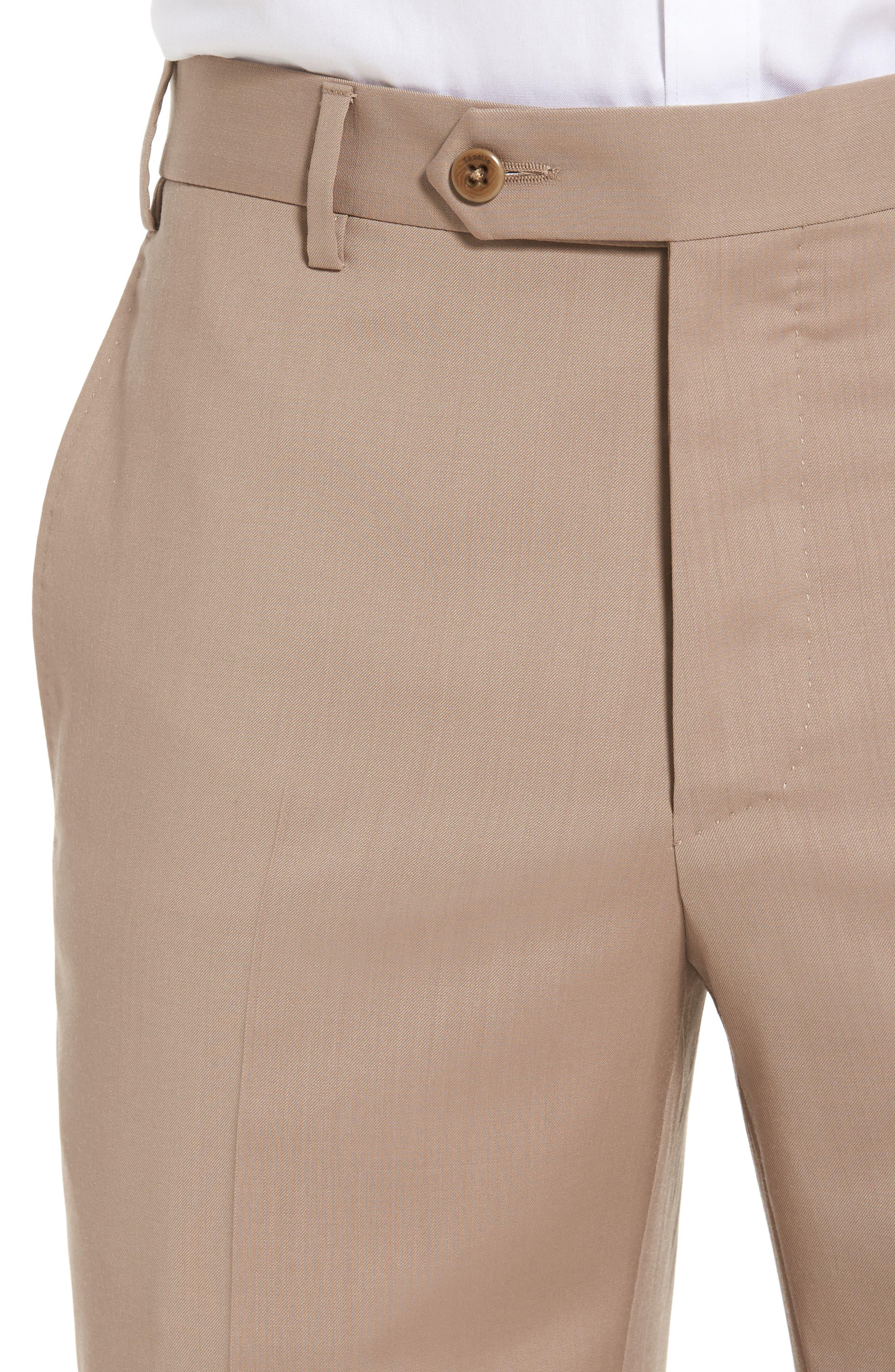 Alternate Image 4  - Zanella Devon Flat Front Solid Wool Trousers