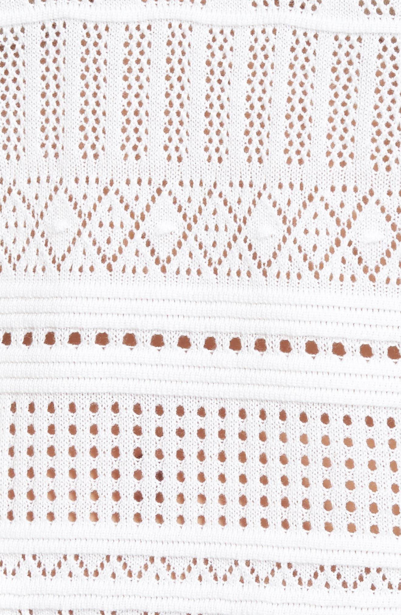 Pickford Pointelle Split Neck Sweater,                             Alternate thumbnail 5, color,                             White