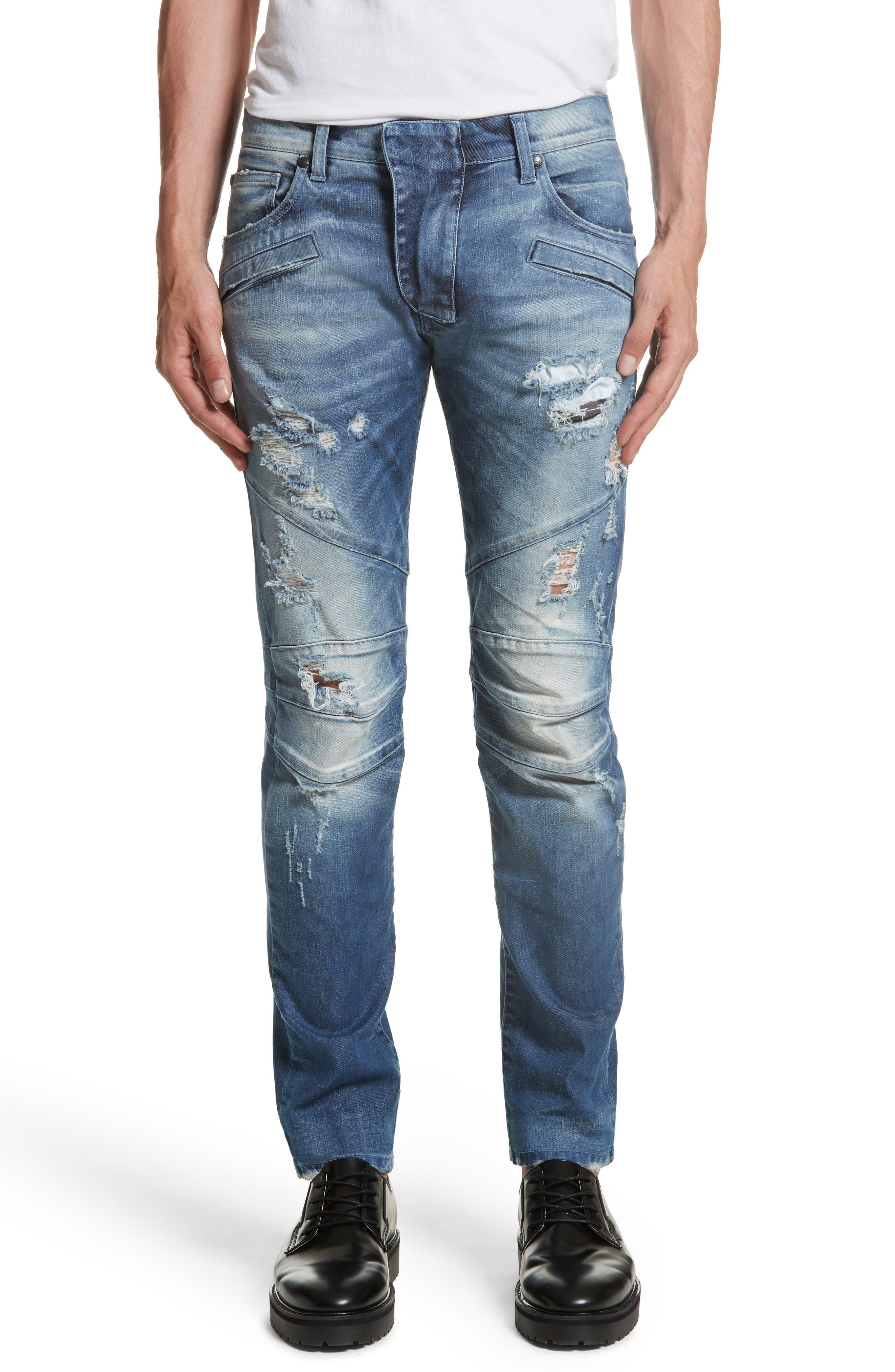 PIERRE BALMAIN Destroyed Moto Jeans