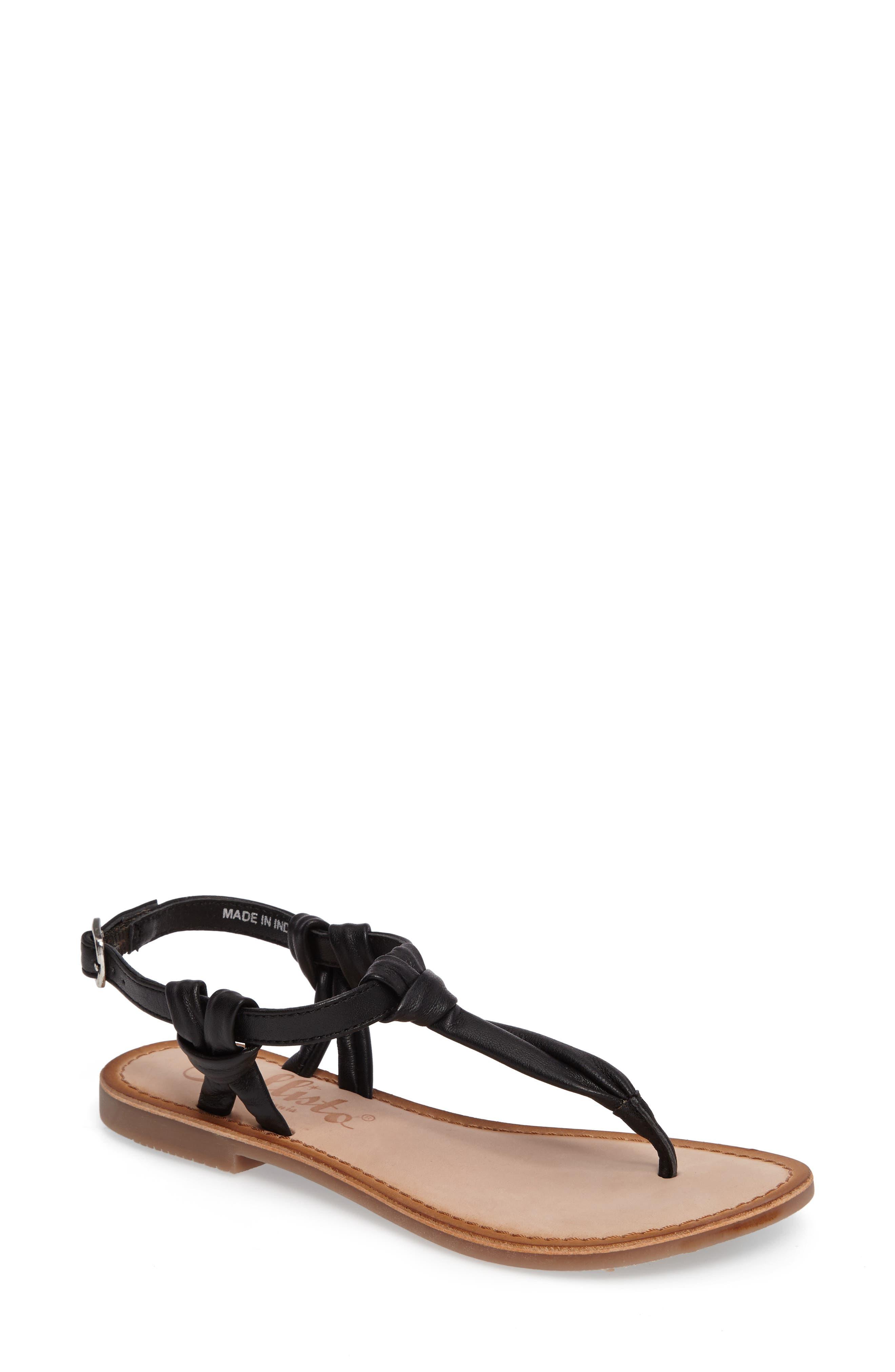 Azza T-Strap Sandal,                             Main thumbnail 1, color,                             Black Leather