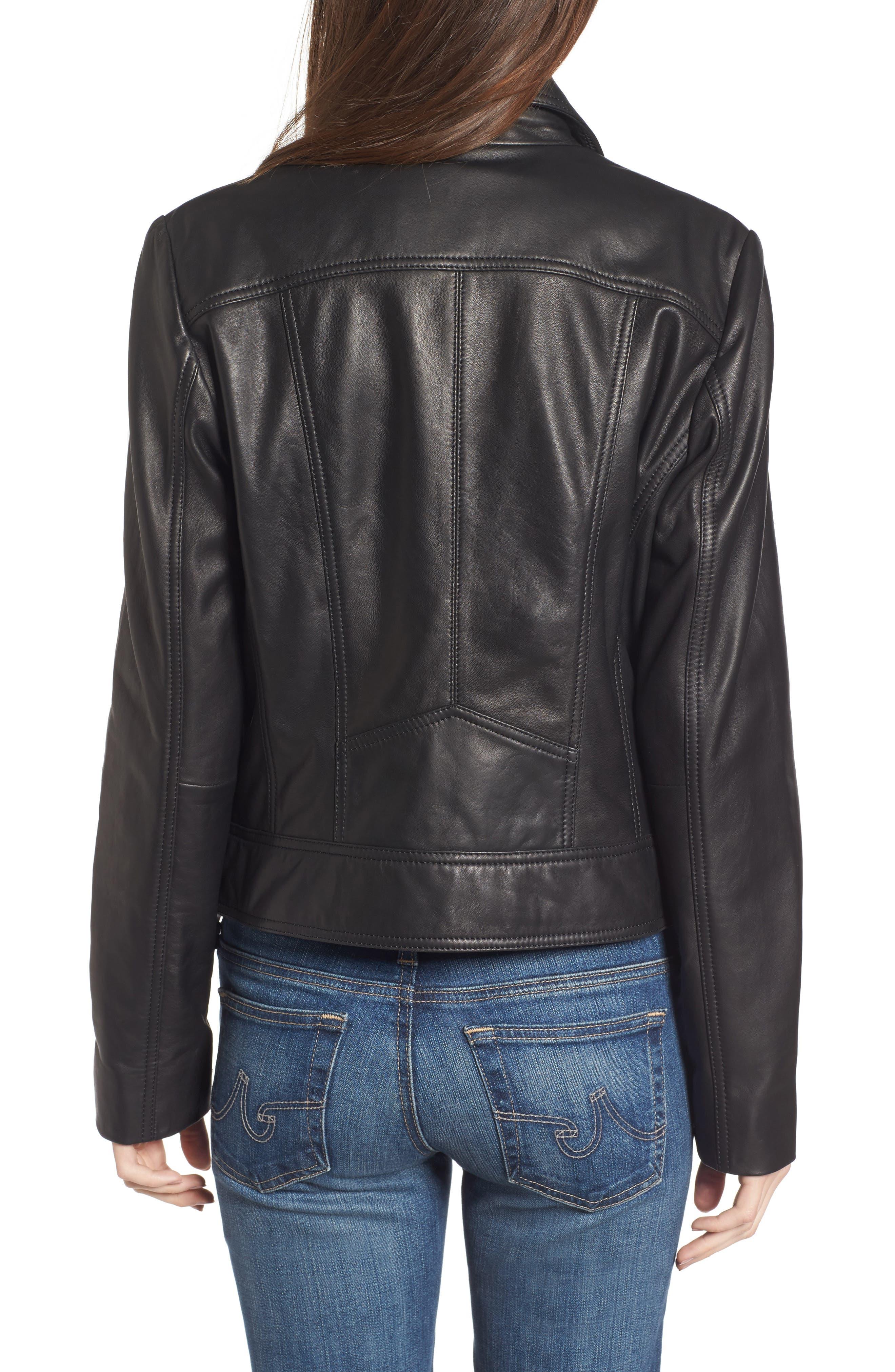 Front Zip Leather Moto Jacket,                             Alternate thumbnail 3, color,                             Black