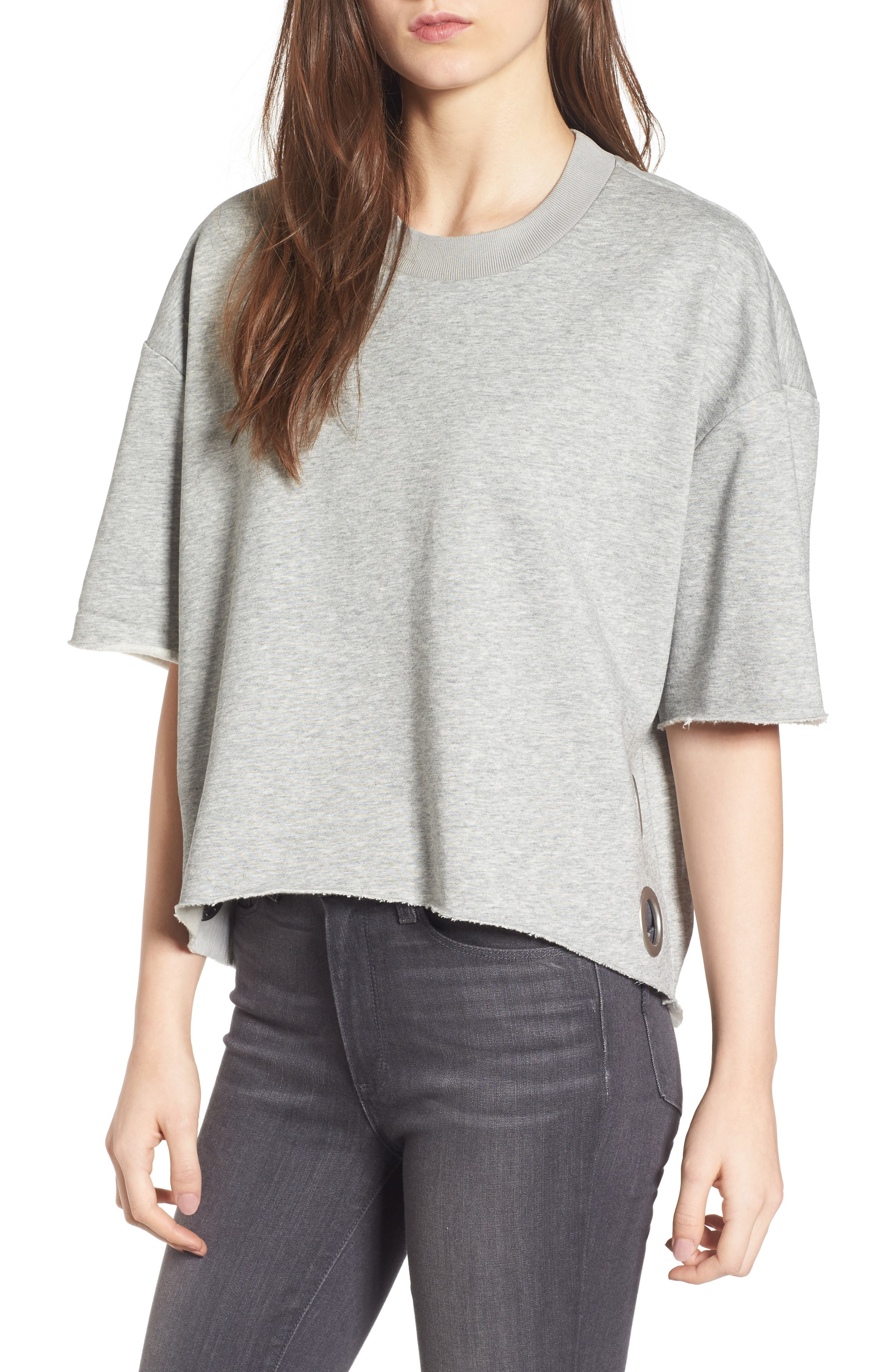 Grommet Pullover,                         Main,                         color, Medium Heather Grey