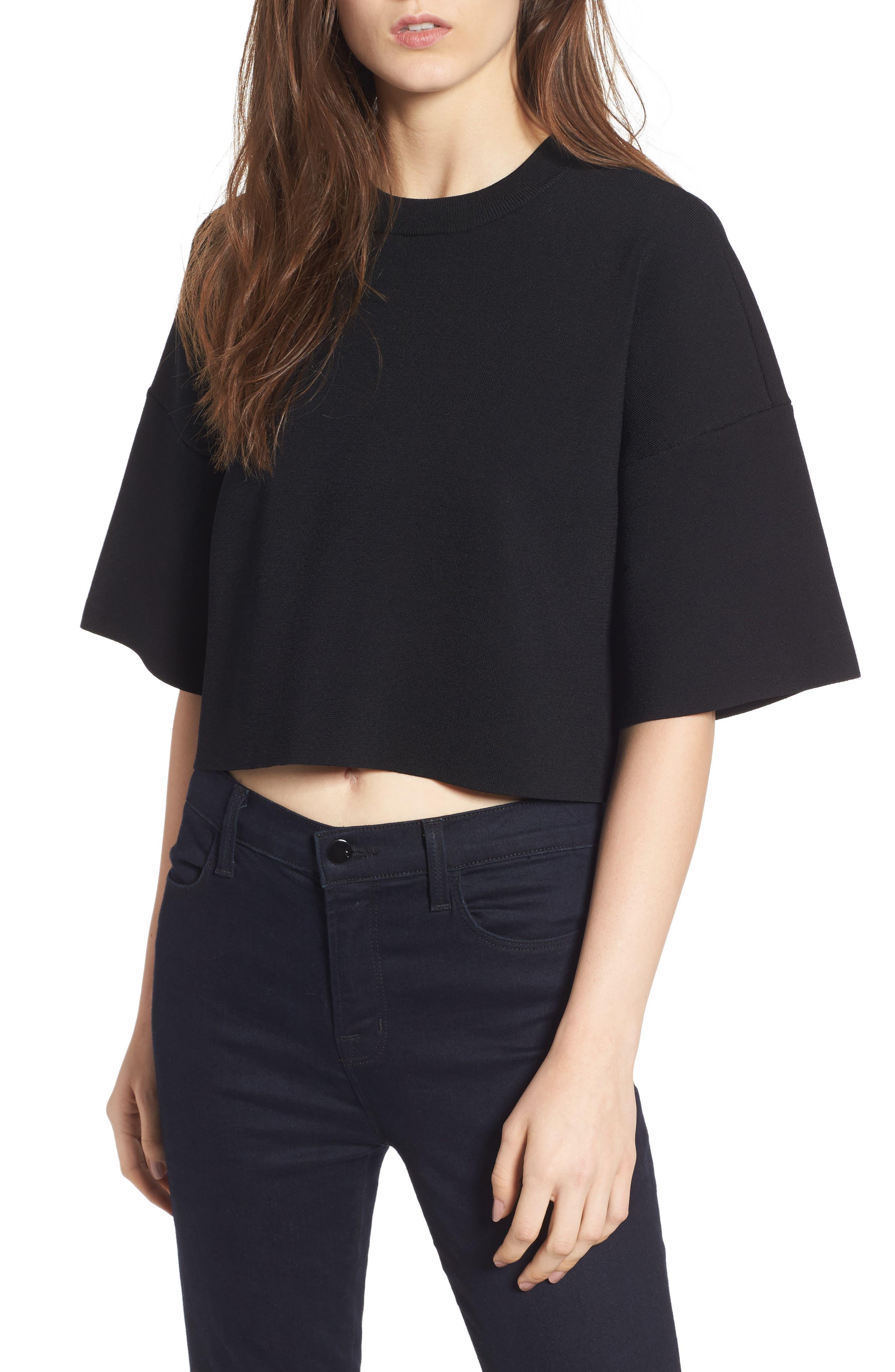 Lace-Up Back Top,                         Main,                         color, Black