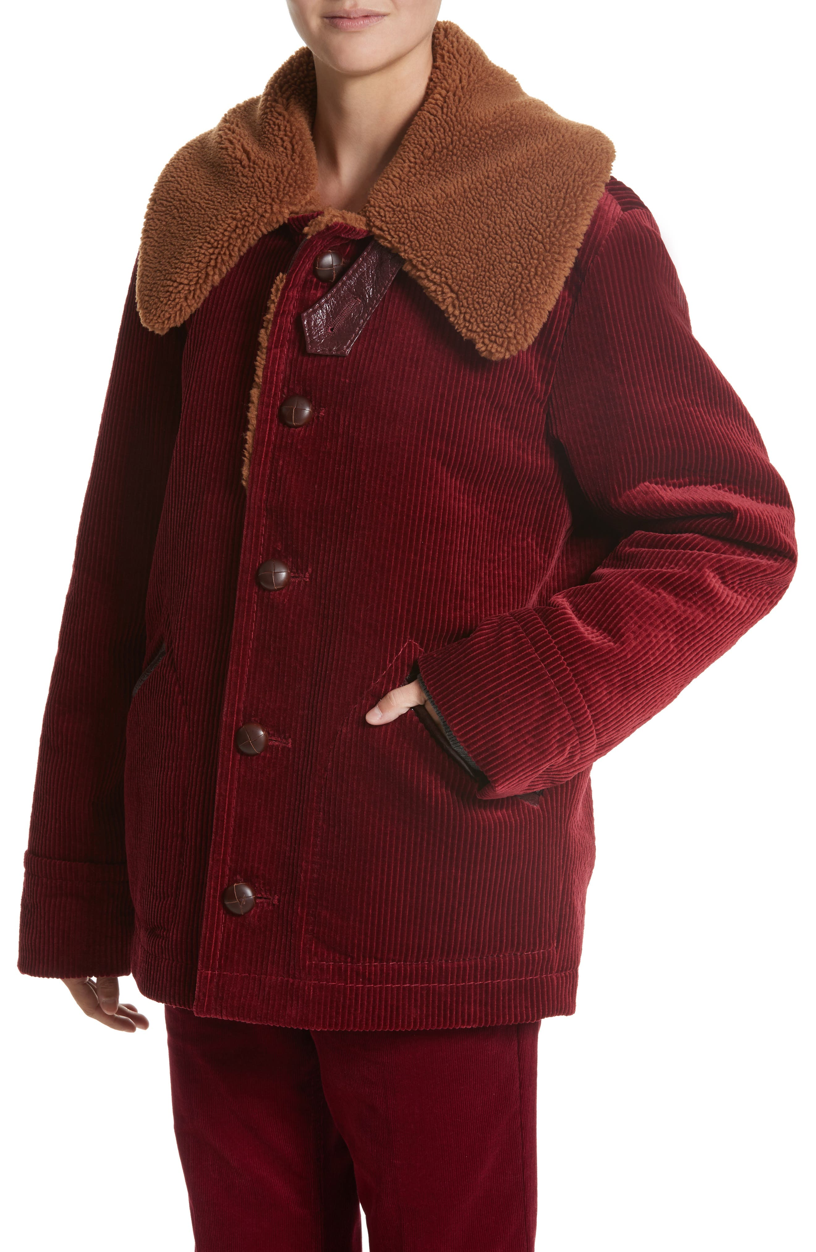 Corduroy Coat with Faux Shearling Collar,                             Alternate thumbnail 4, color,                             Bordeaux