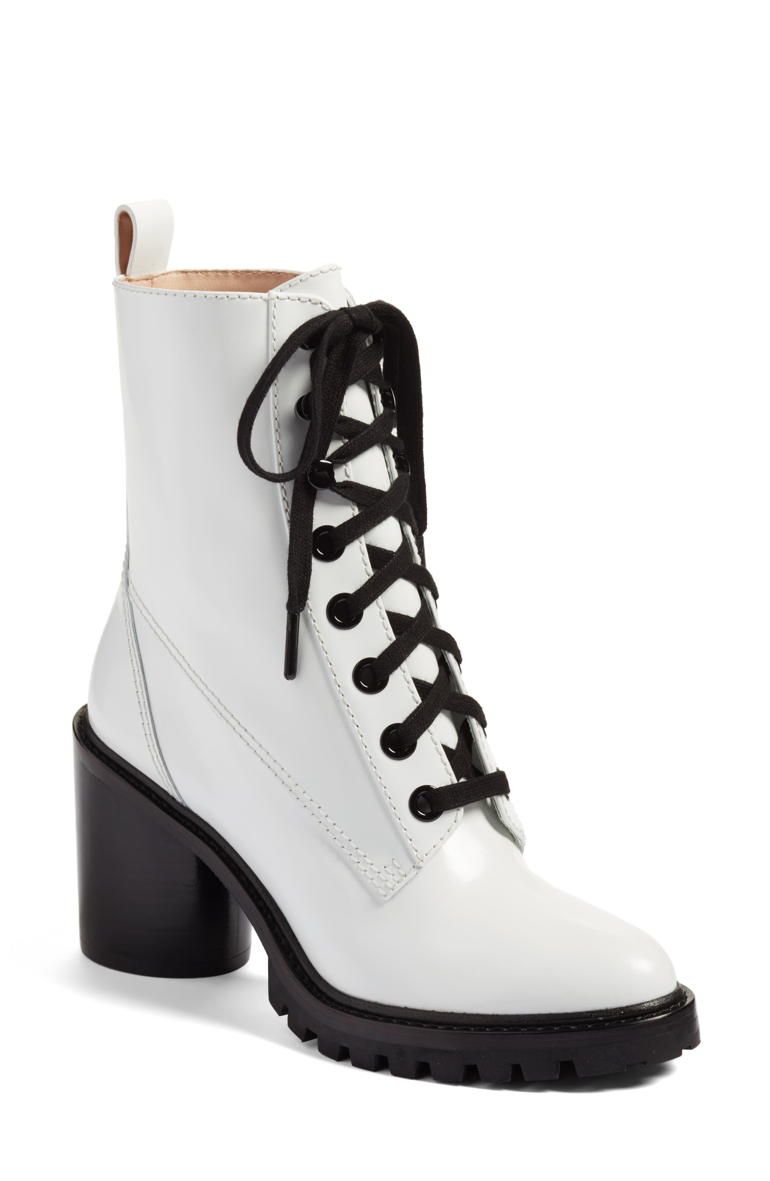 Ryder Block Heel Boot,                             Main thumbnail 1, color,                             White