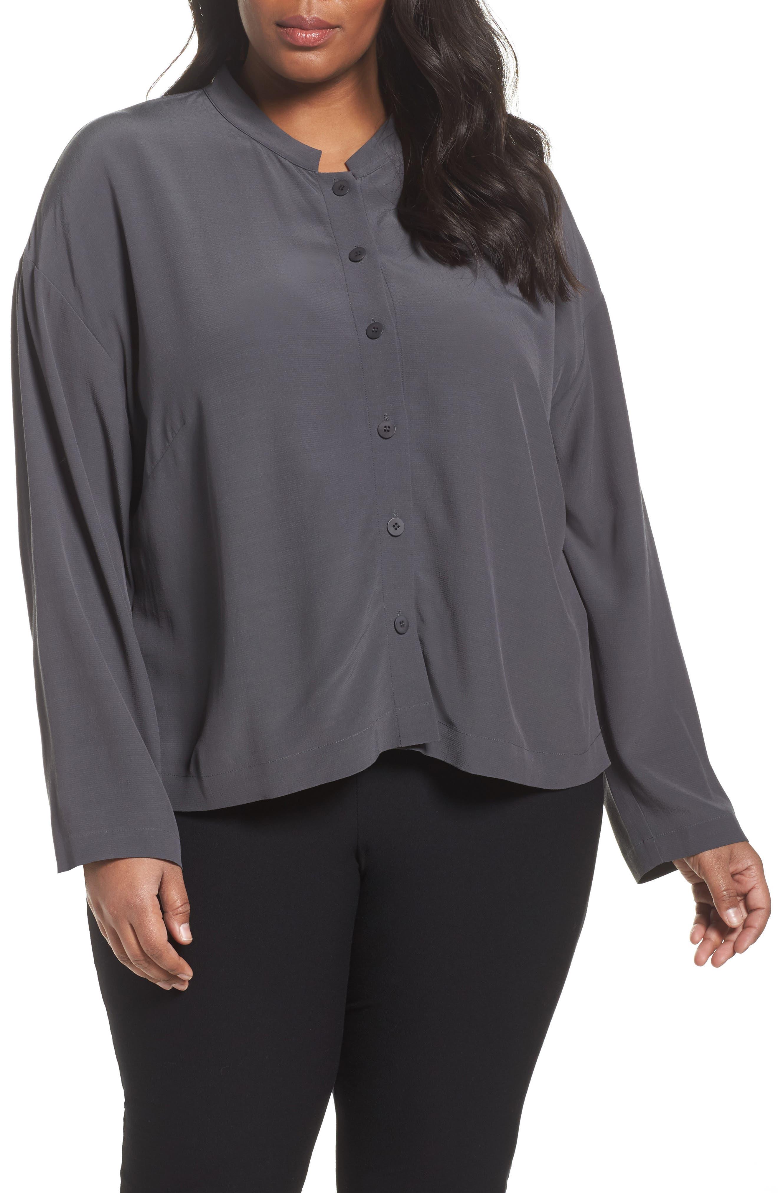Main Image - Eileen Fisher Mandarin Collar Boxy Top (Plus Size)