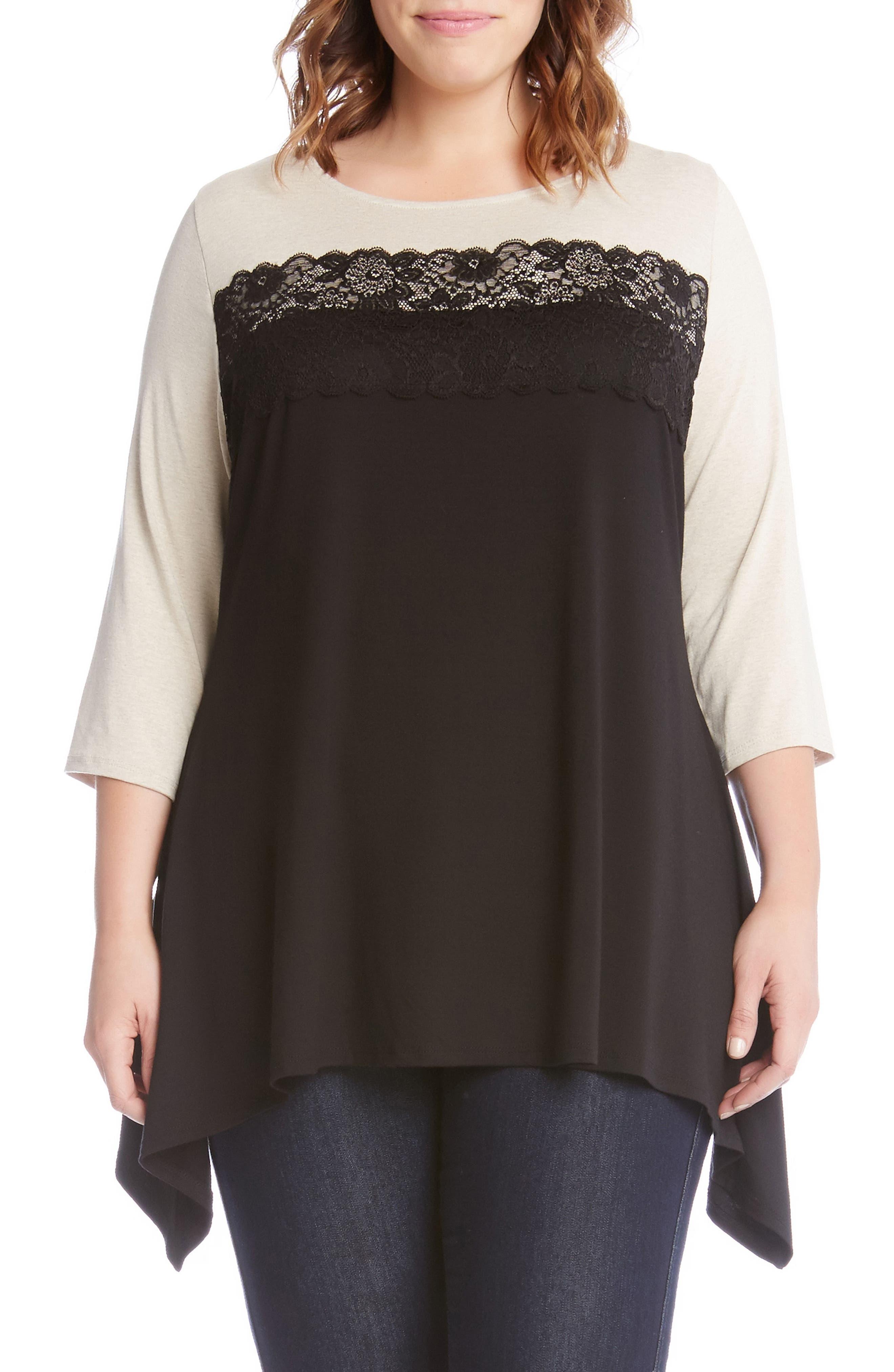 Alternate Image 1 Selected - Karen Kane Lace Trim Handkerchief Hem Top (Plus Size)