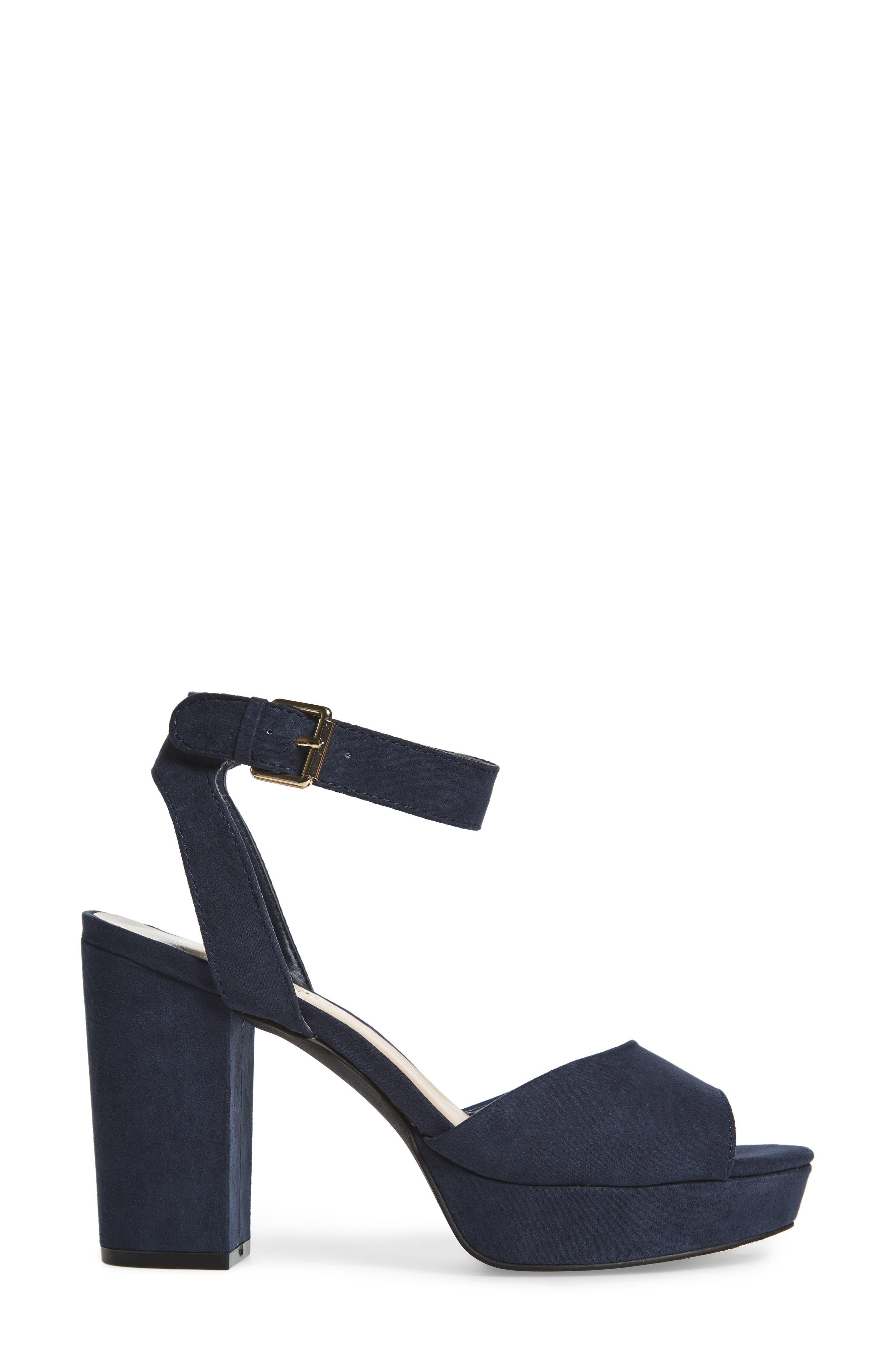 Jerzy Platform Sandal,                             Alternate thumbnail 3, color,                             Navy Synthetic