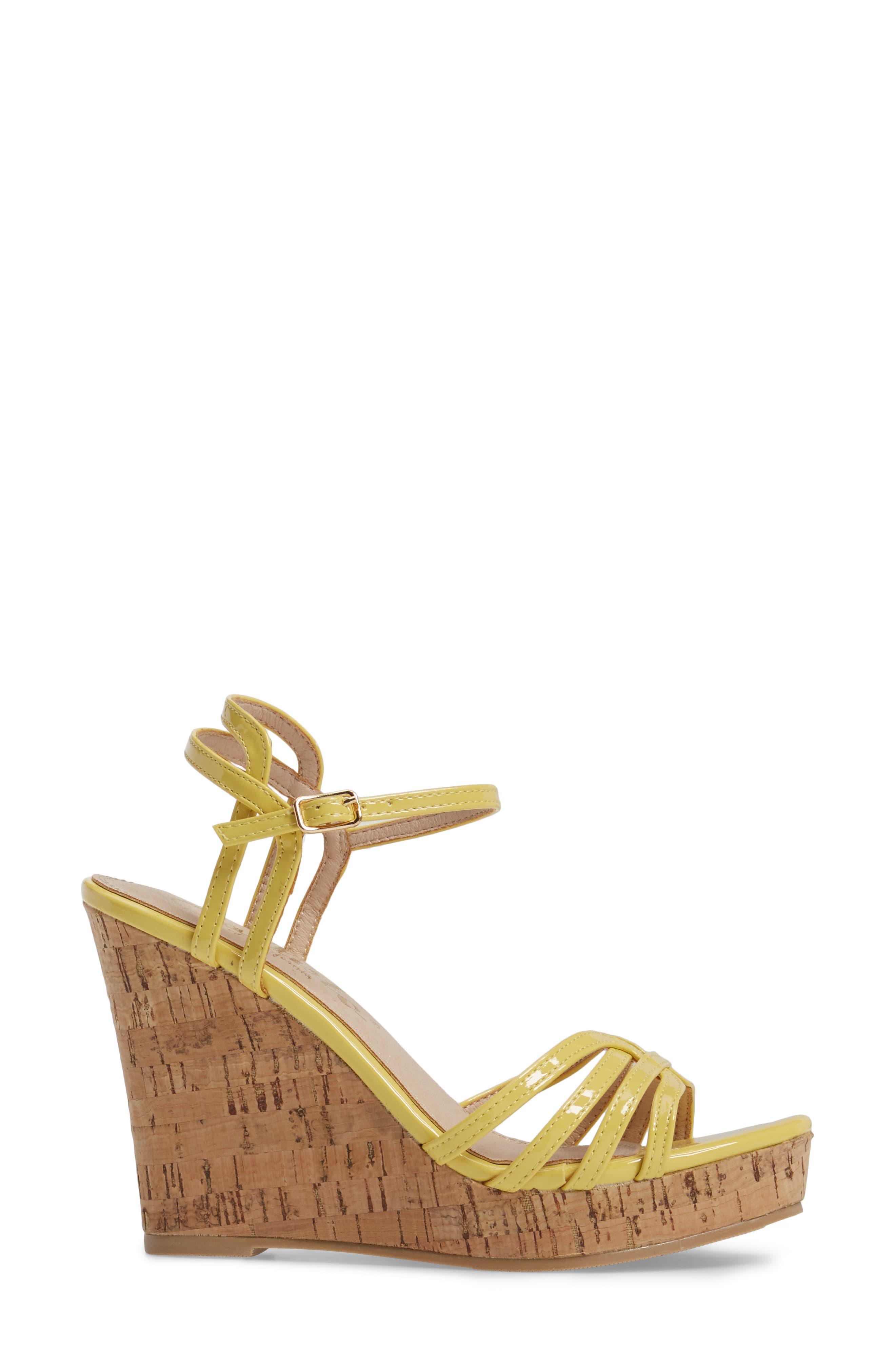 Oasis Platform Wedge Sandal,                             Alternate thumbnail 3, color,                             Yellow Synthetic